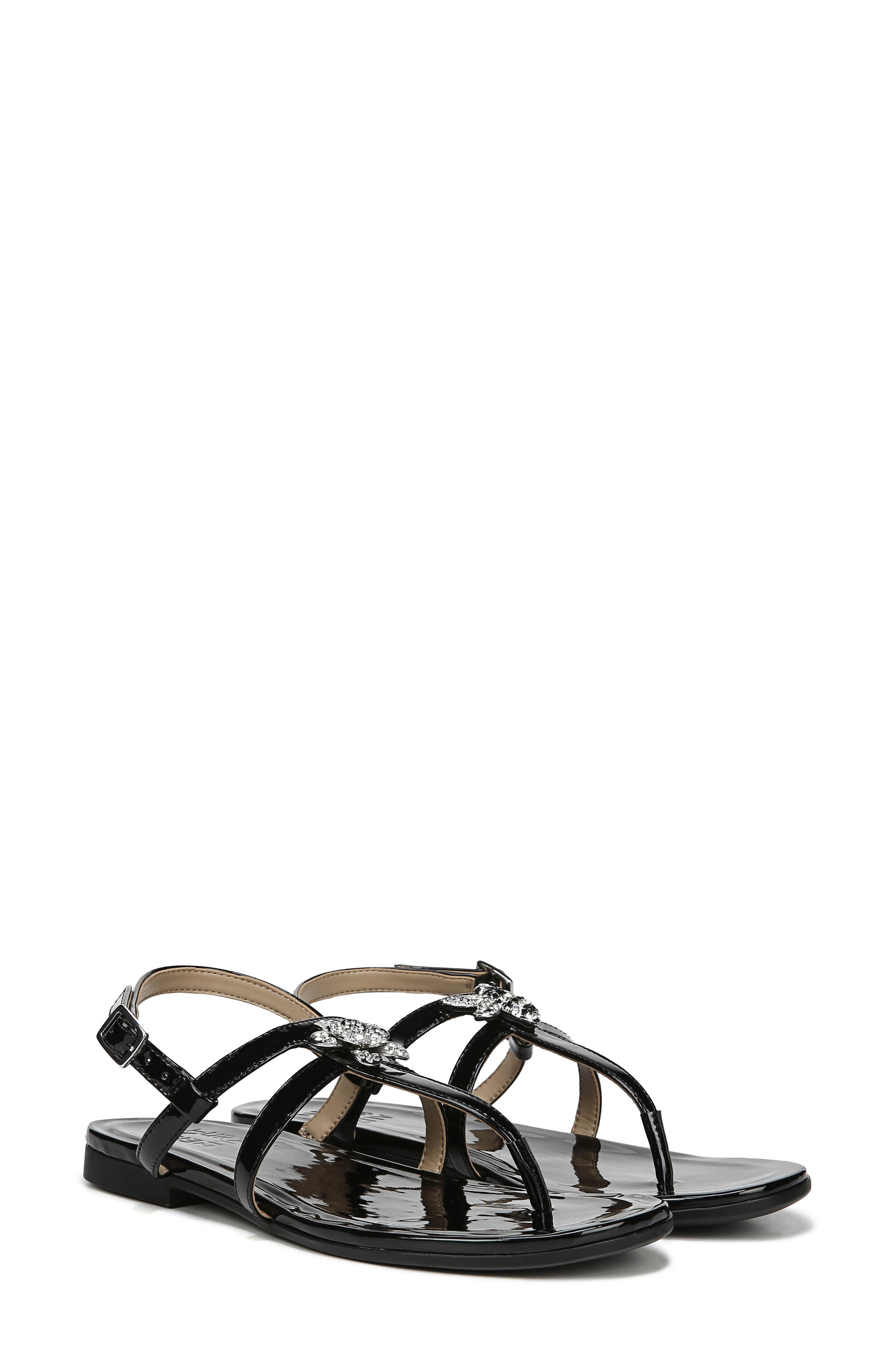 Tilly Embellished Sandal,                             Alternate thumbnail 8, color,                             BLACK PATENT FAUX LEATHER