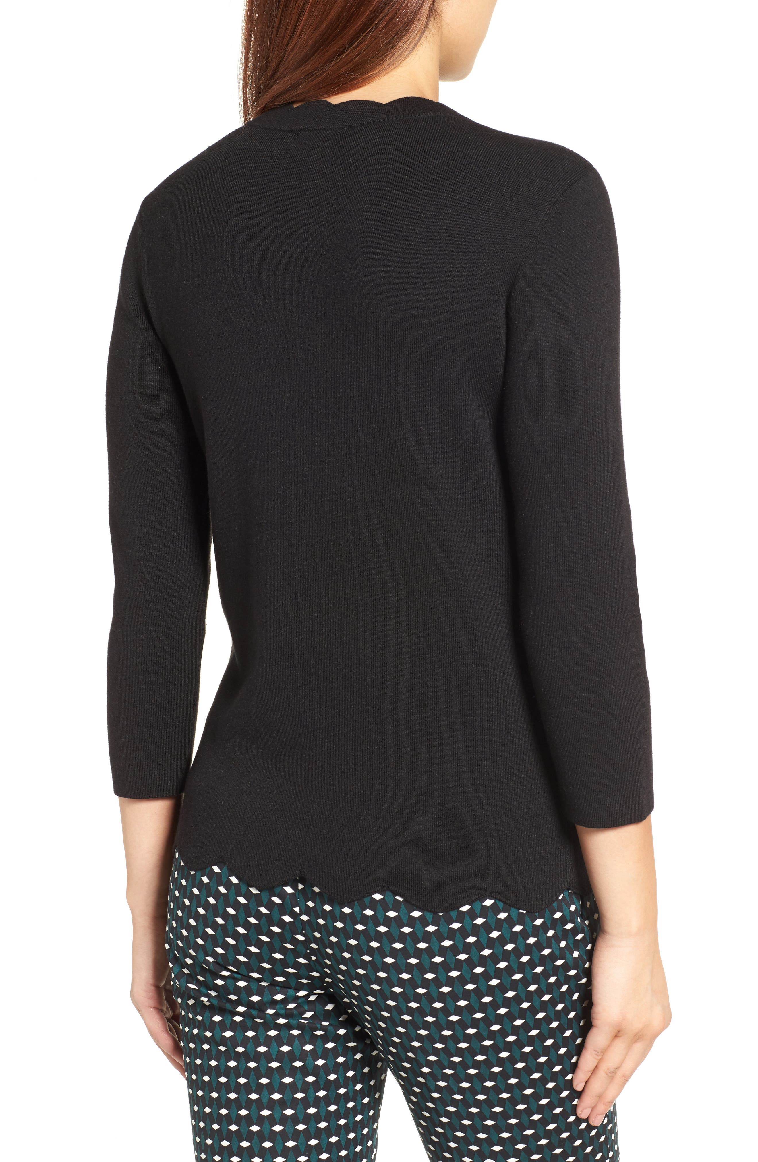 Halogen Scallop Edge Sweater,                             Alternate thumbnail 16, color,