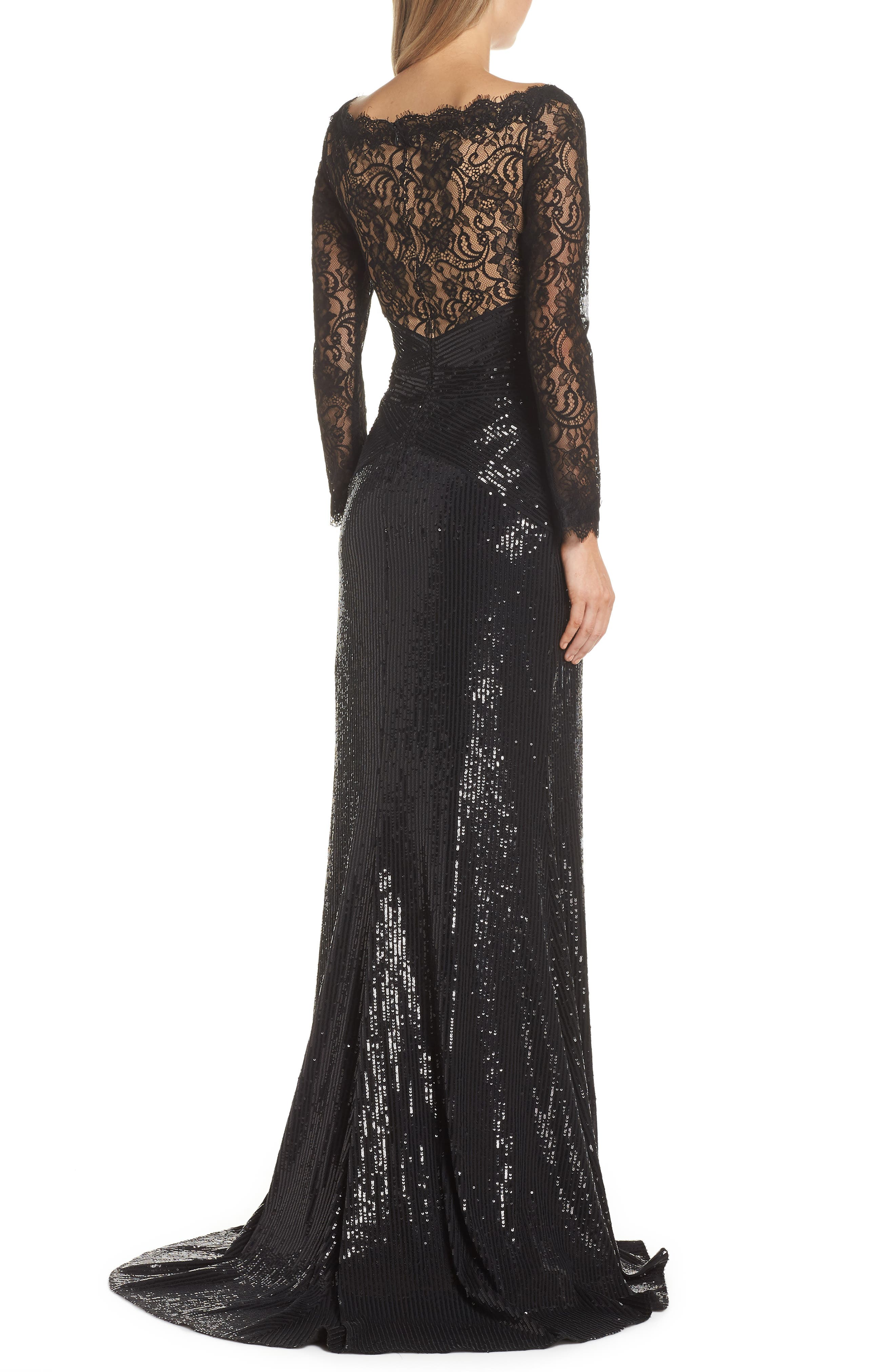 Lace & Sequin Gown,                             Alternate thumbnail 2, color,                             BLACK/ NUDE