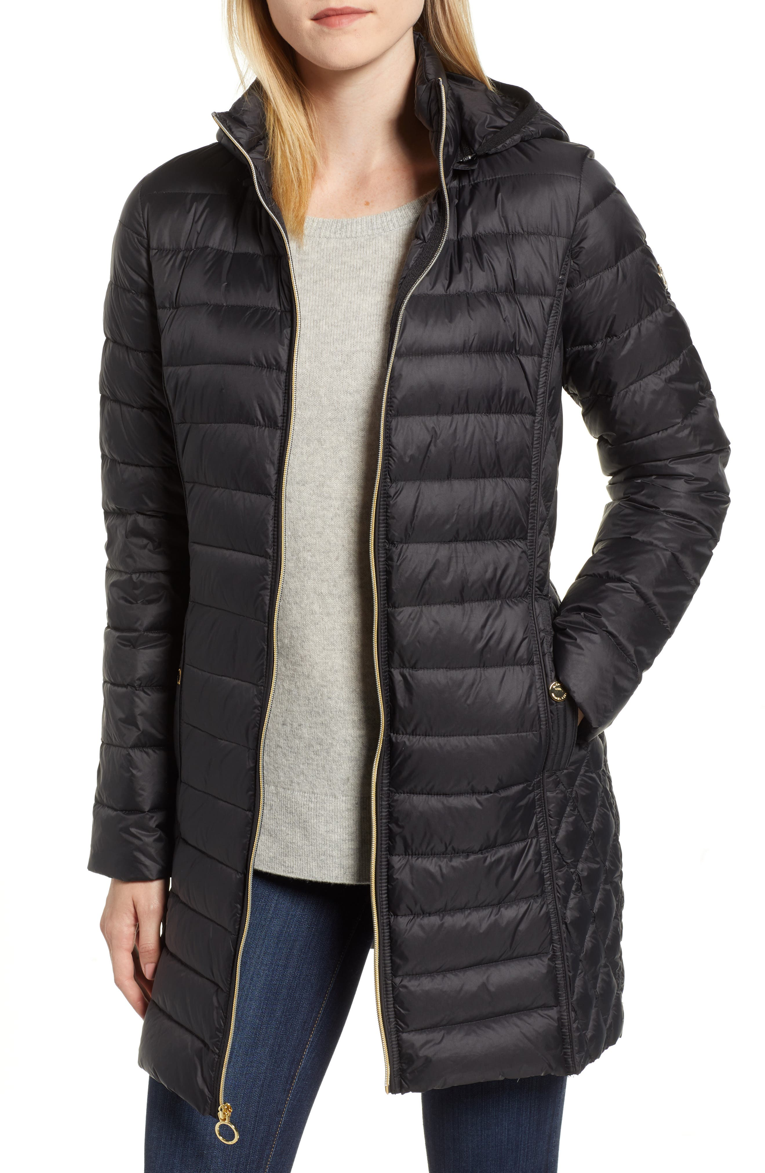 Packable Down Puffer Jacket,                         Main,                         color, BLACK