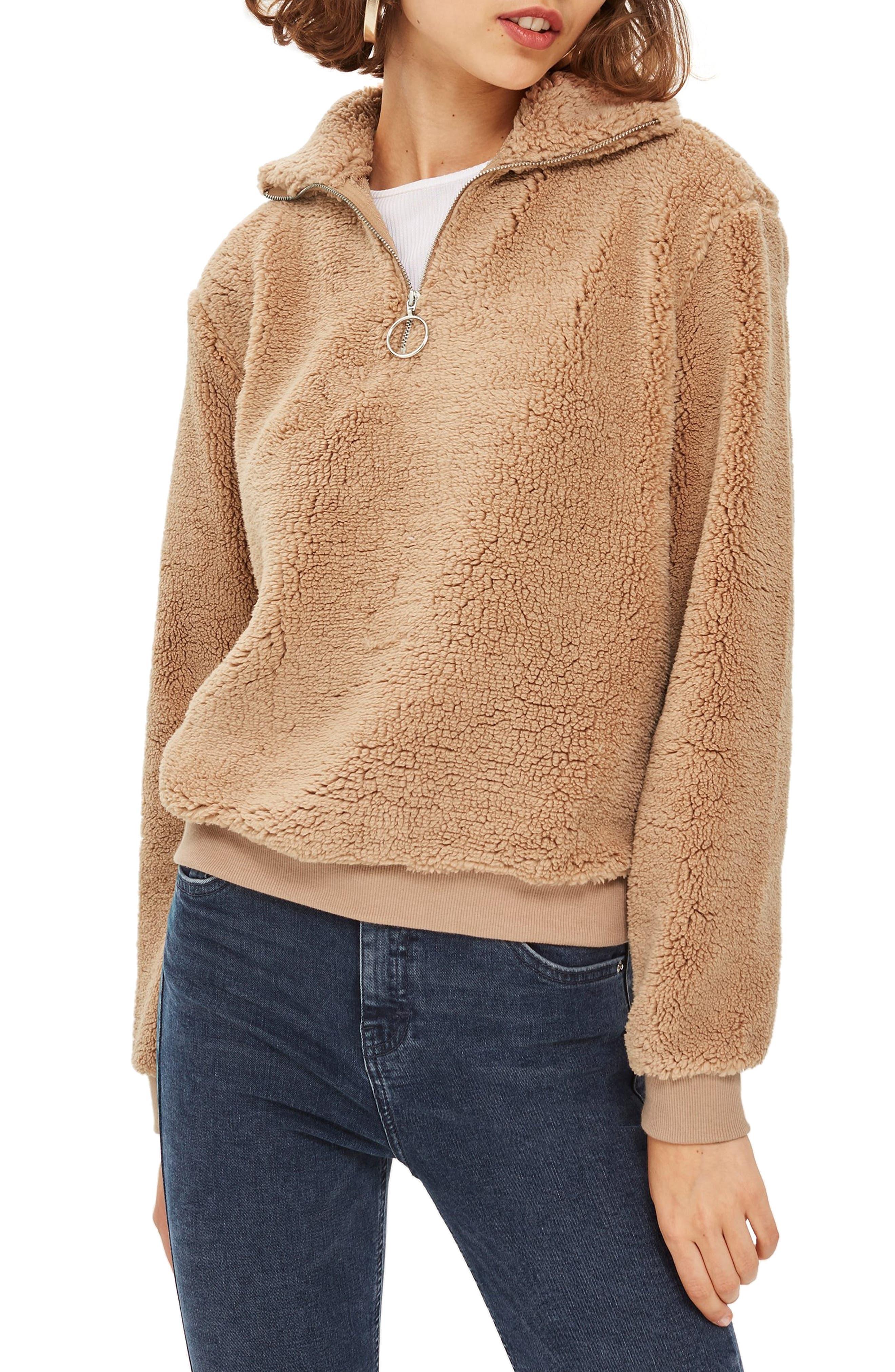 TOPSHOP Borg Heart Quarter Zip Pullover, Main, color, TAN