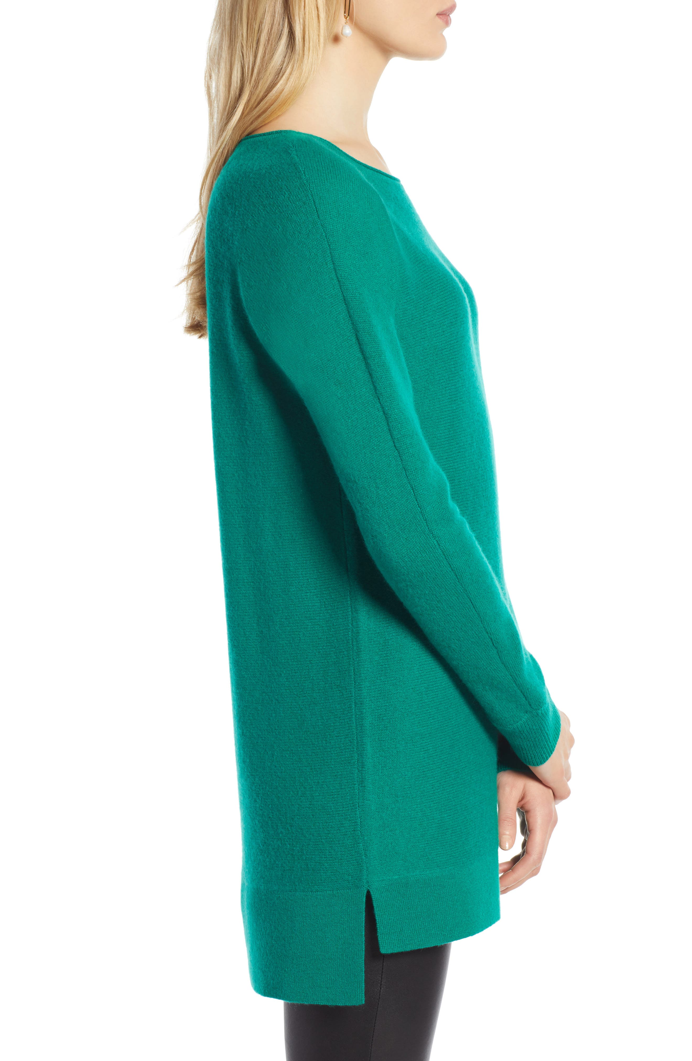 High/Low Wool & Cashmere Tunic Sweater,                             Alternate thumbnail 3, color,                             GREEN ULTRA