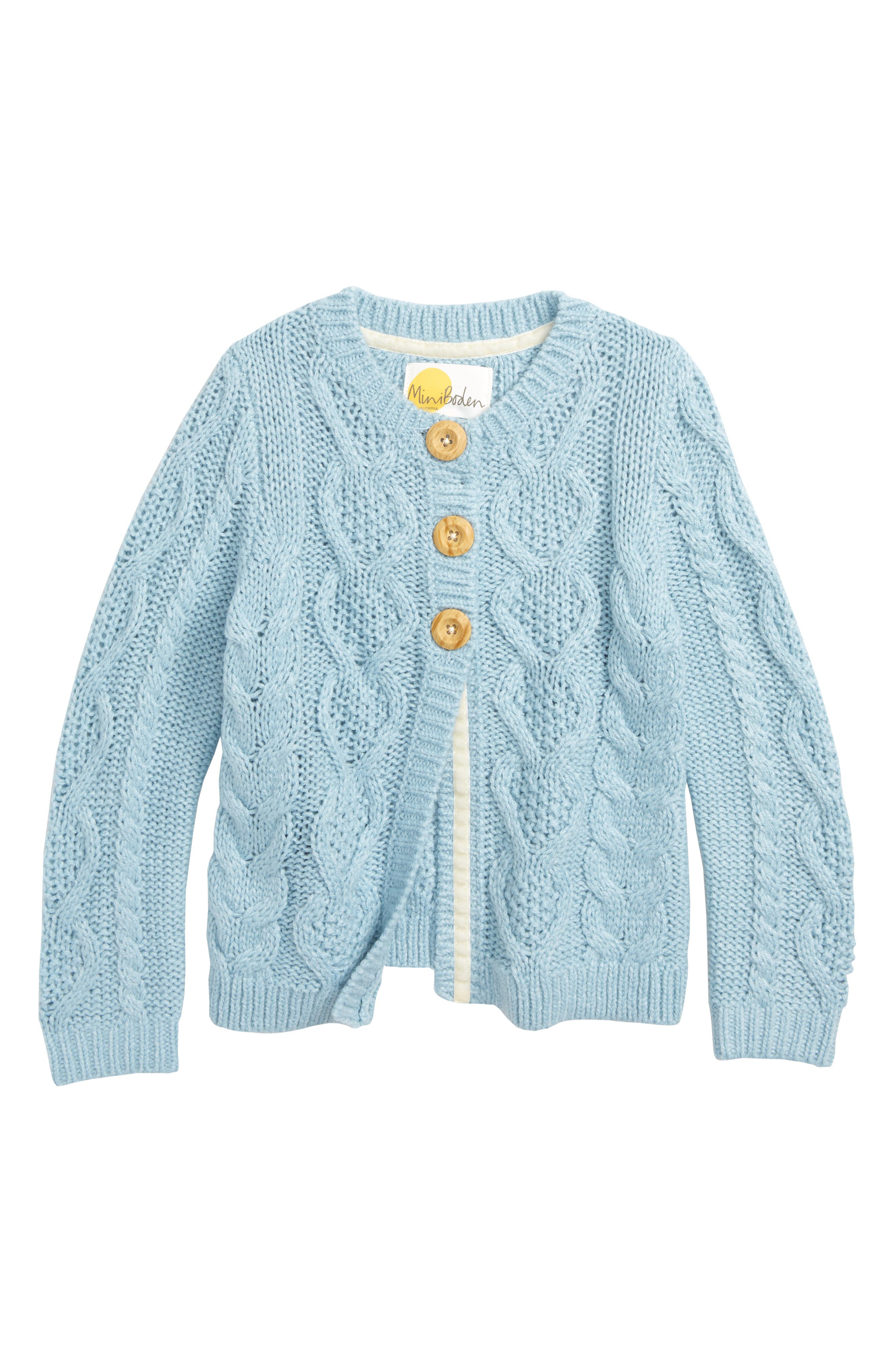 Cozy Cable Cardigan,                             Main thumbnail 1, color,                             ICE BLUE