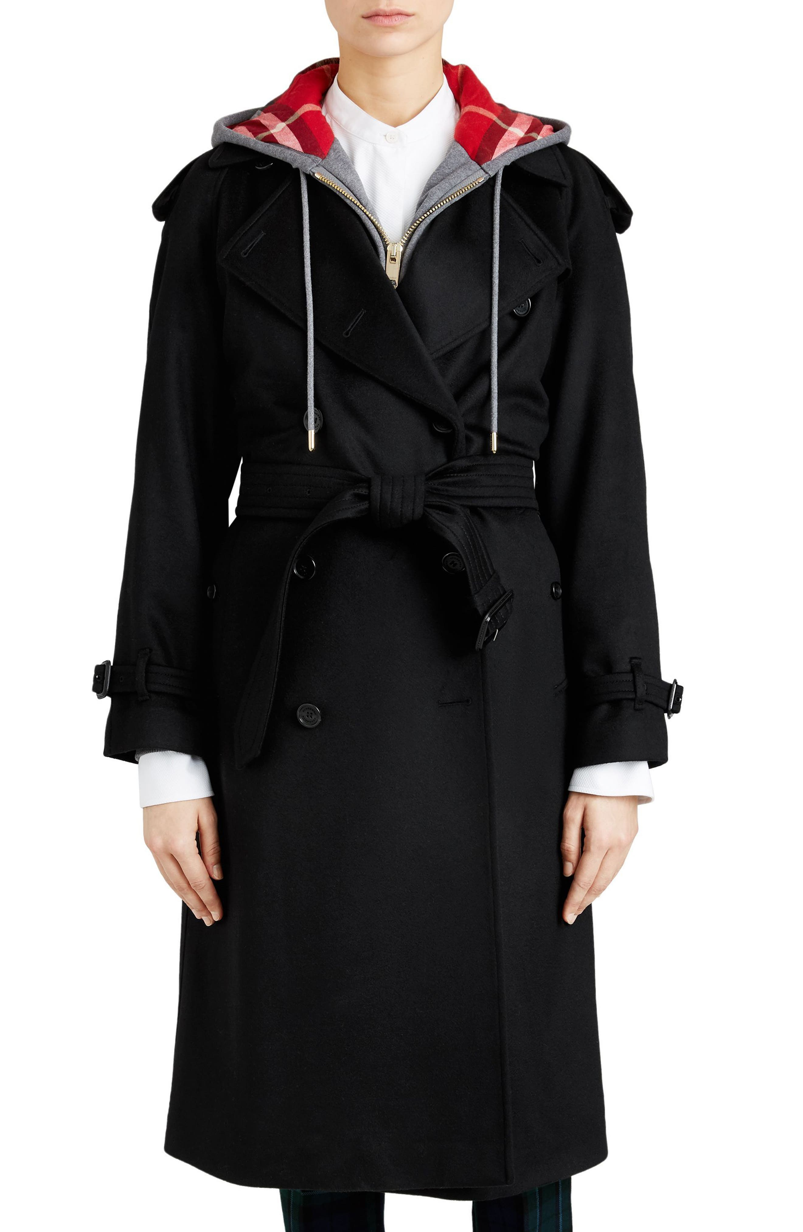 Eastheath Cashmere Trench Coat,                             Main thumbnail 1, color,                             BLACK