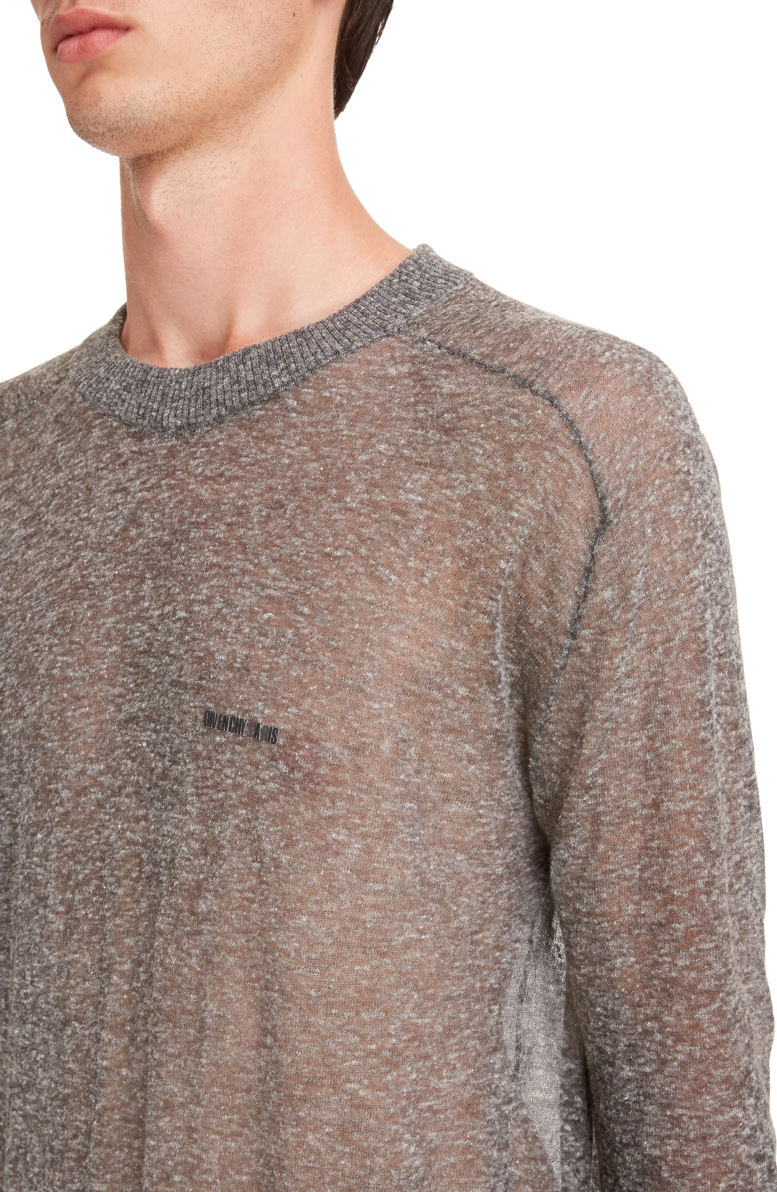 Technical Linen Blend Crewneck Sweater,                             Alternate thumbnail 4, color,                             020