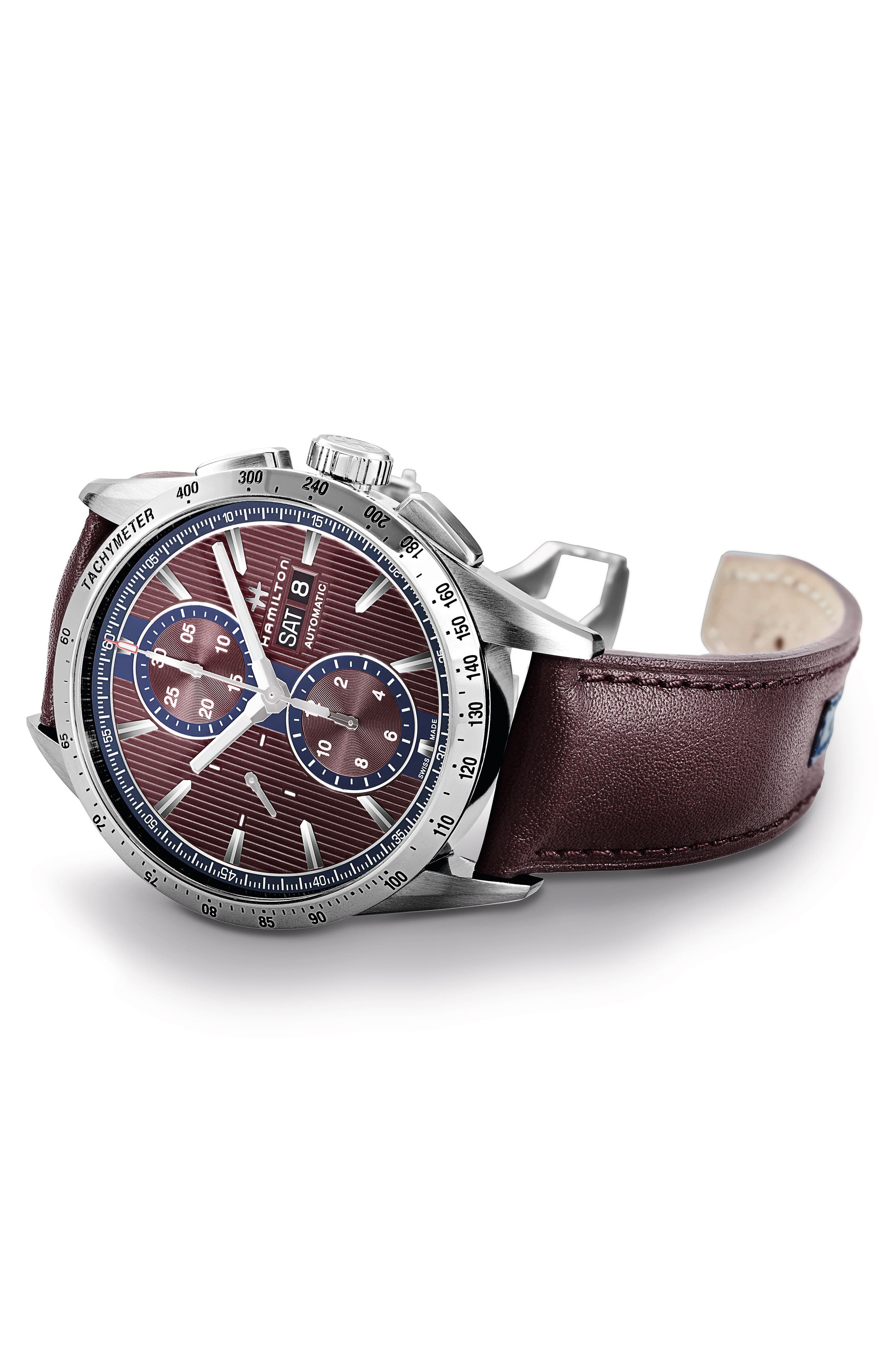 Broadway Automatic Chronograph Leather Strap Watch, 43mm,                             Alternate thumbnail 3, color,                             AUBERGINE/ RED/ SILVER