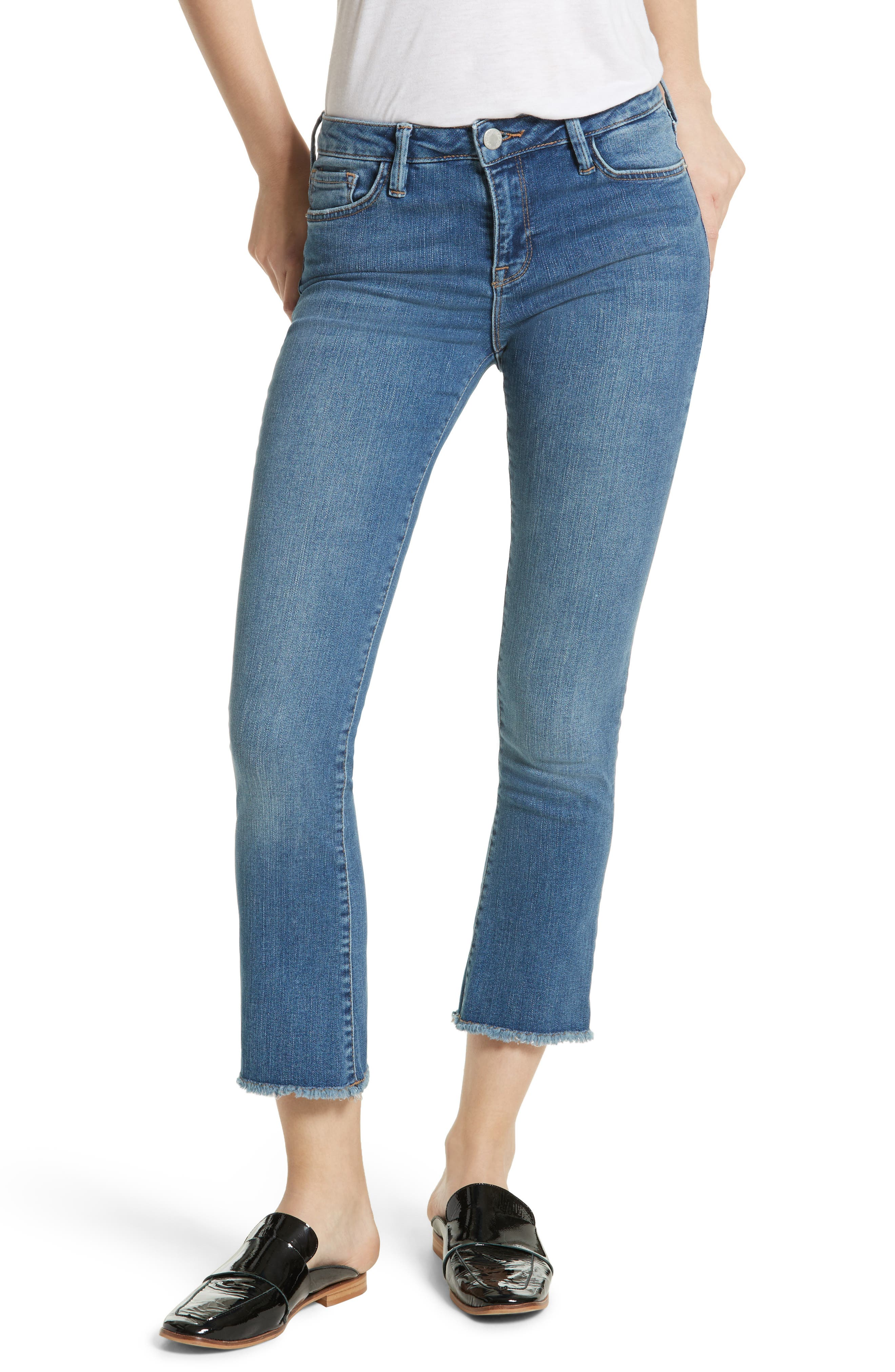 High Waist Crop Straight Leg Jeans,                         Main,                         color, 400