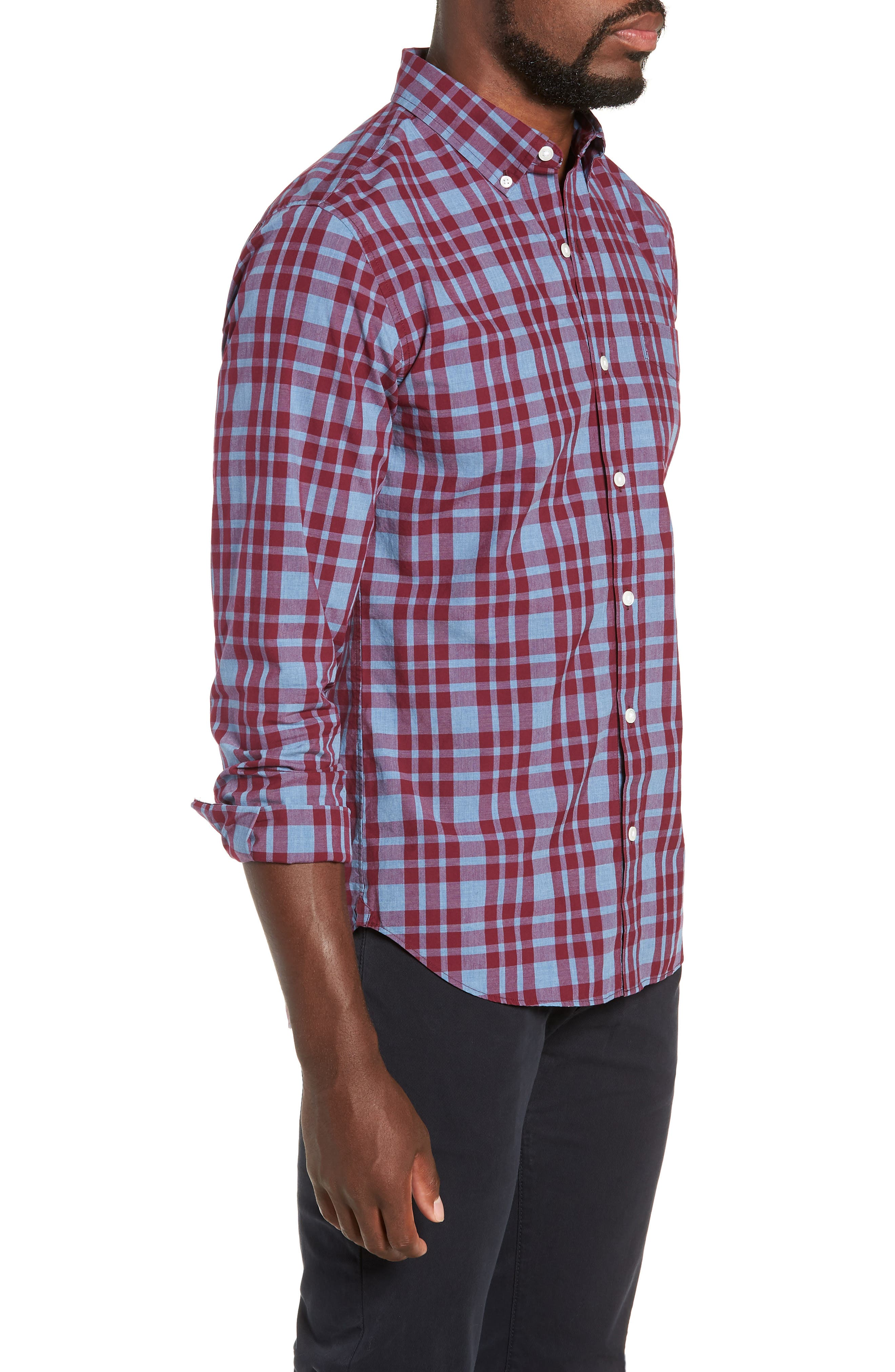 Washed Button Down Slim Fit Plaid Sport Shirt,                             Alternate thumbnail 4, color,                             HARDY PLAID - HEATHER DENIM