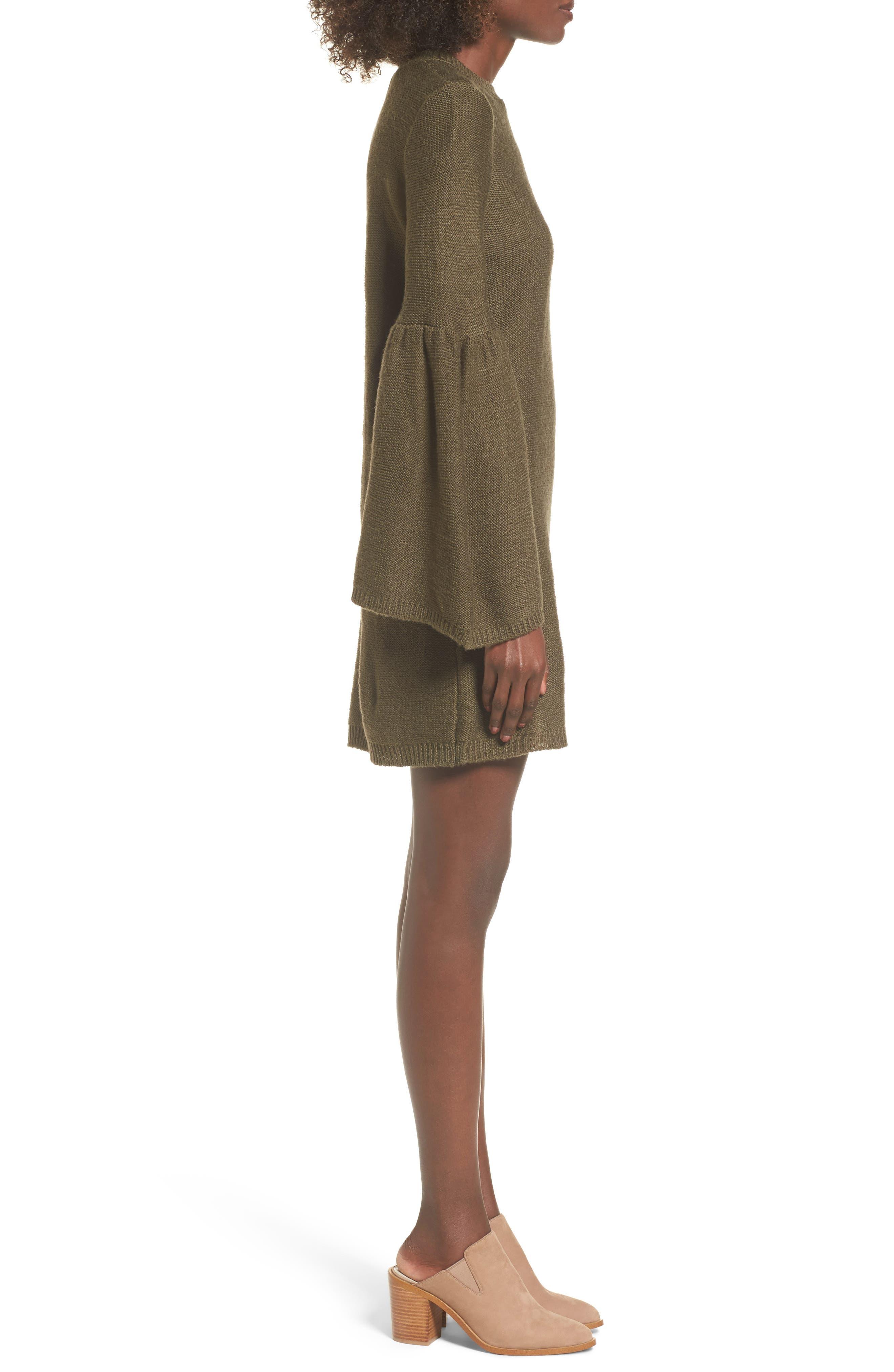 Bell Sleeve Sweater Dress,                             Alternate thumbnail 6, color,