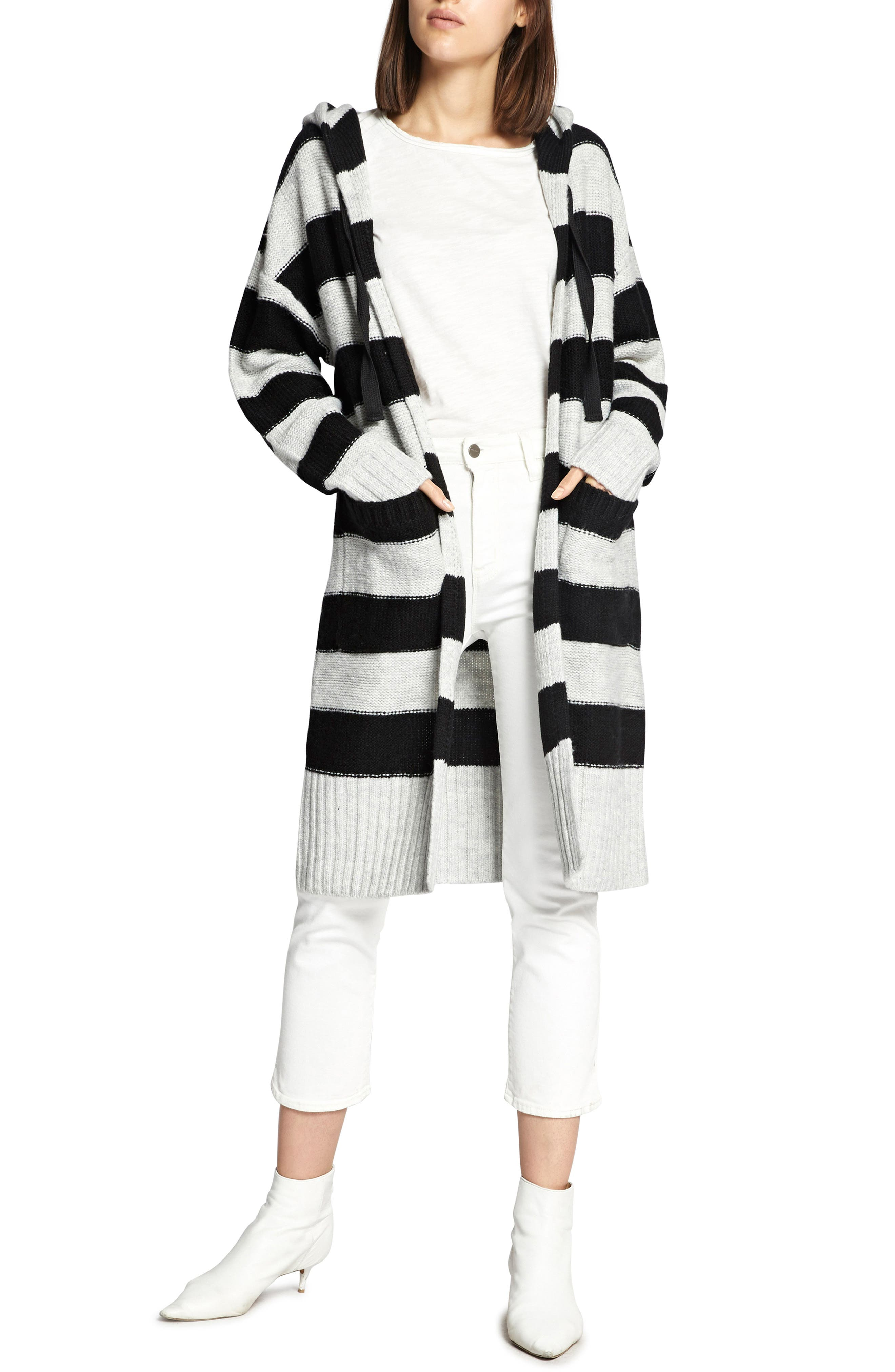 SANCTUARY,                             Rugby Long Hooded Cardigan,                             Main thumbnail 1, color,                             HEATHER STERLING/ BLACK