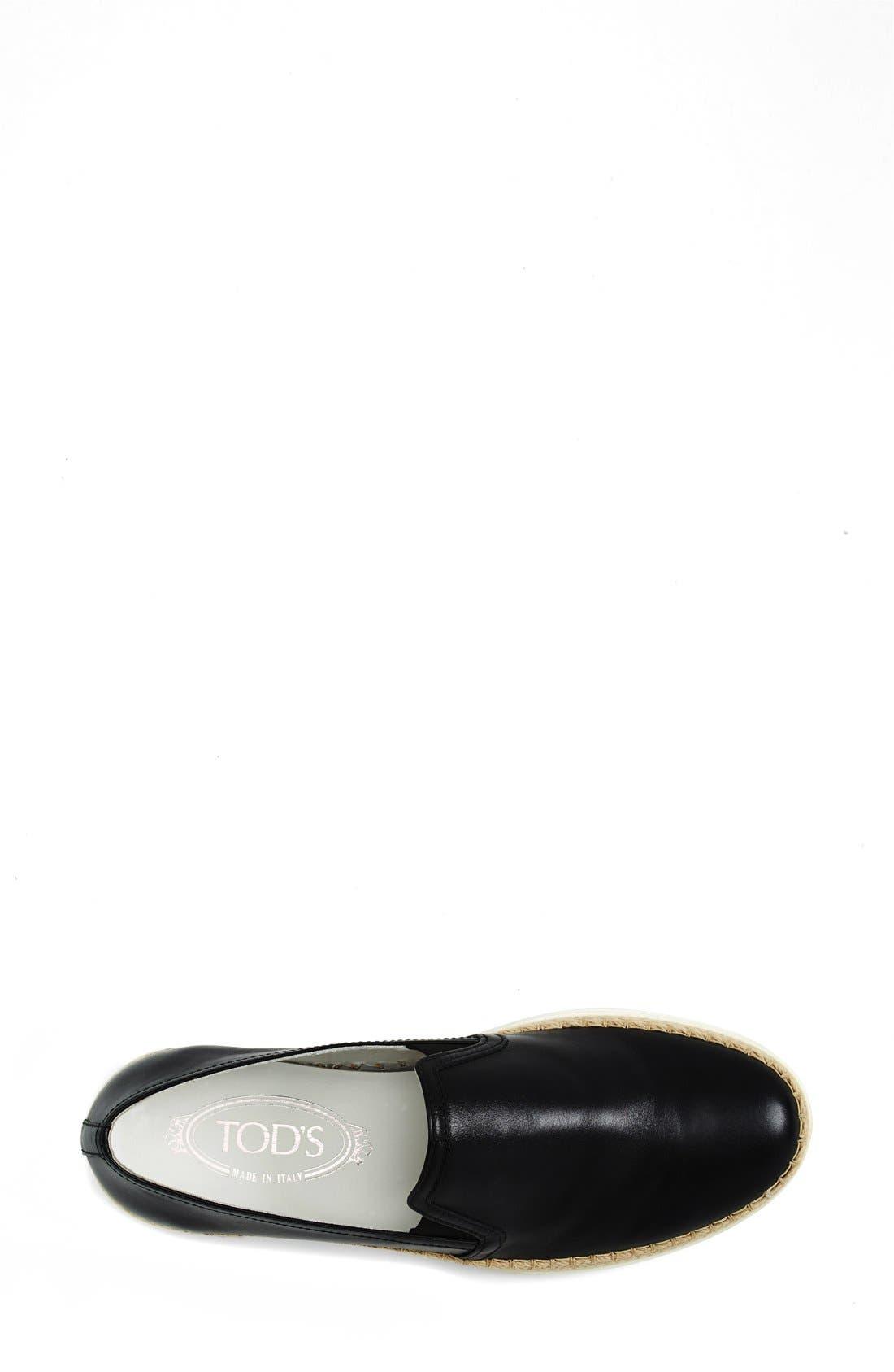 TOD'S,                             Slip-On Leather Sneaker,                             Alternate thumbnail 4, color,                             001