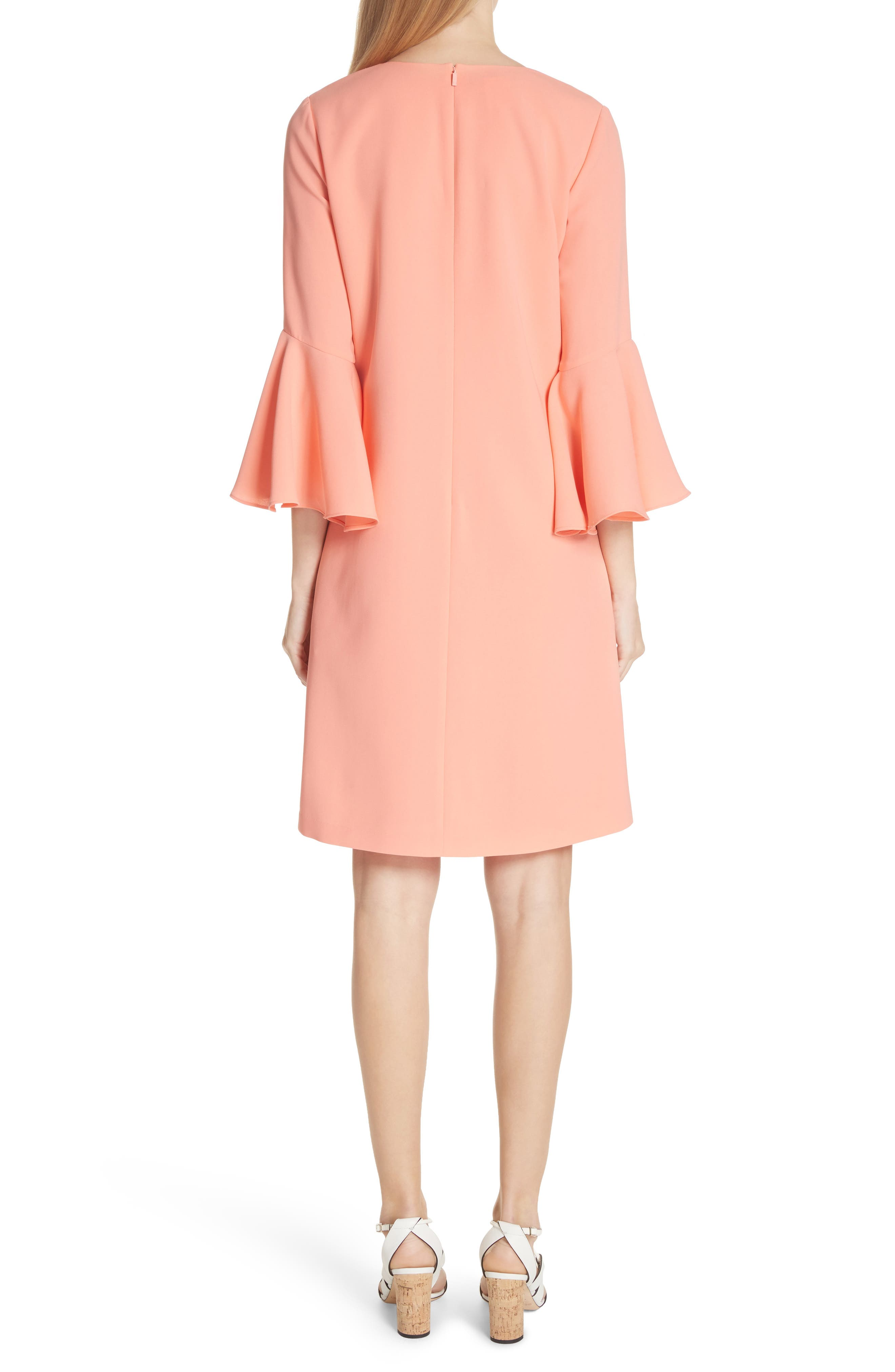 Holly Bell Sleeve Dress,                             Alternate thumbnail 2, color,                             CORAL REEF