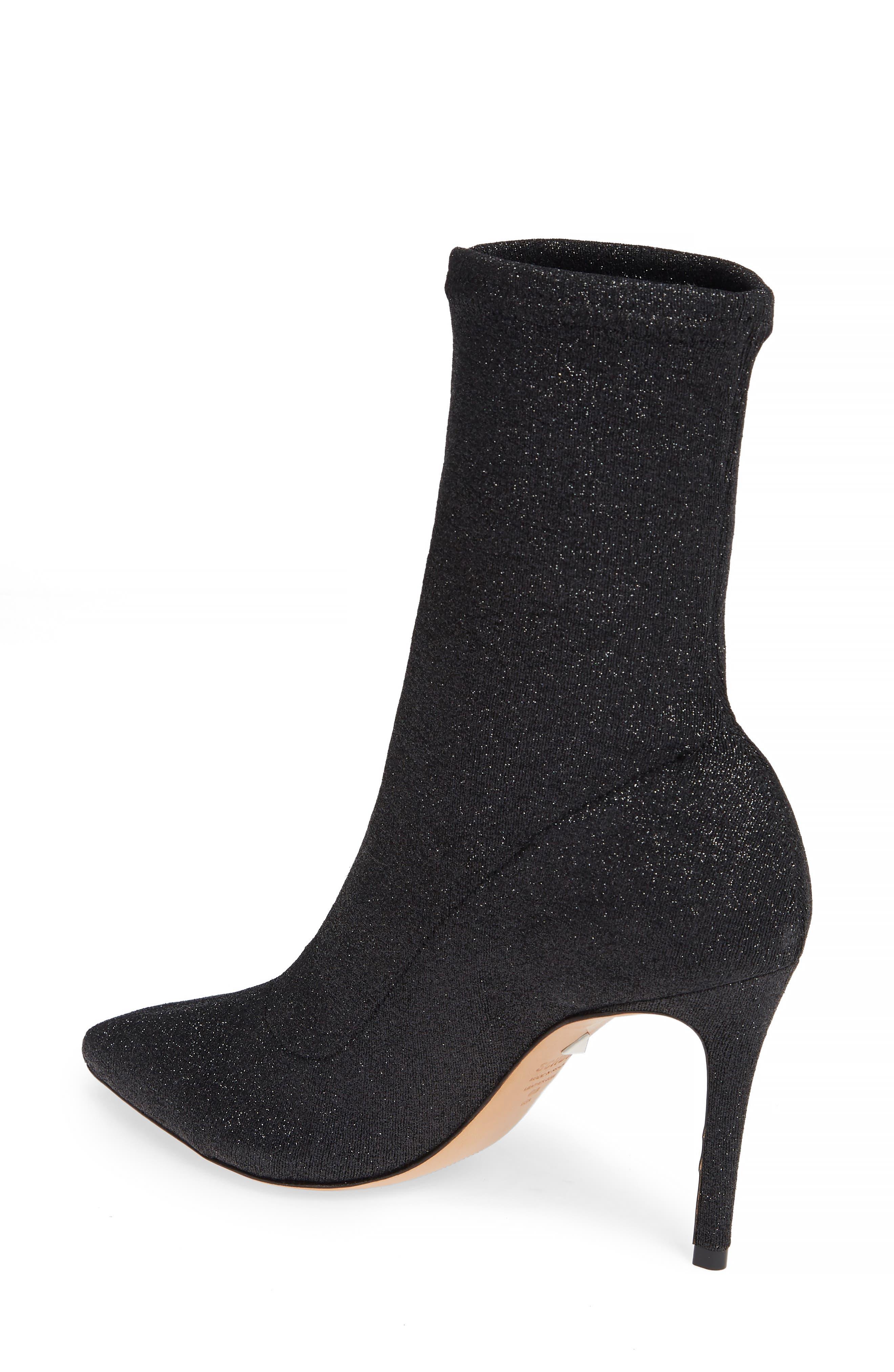 Sciarpe Glitter Sock Bootie,                             Alternate thumbnail 2, color,                             BLACK