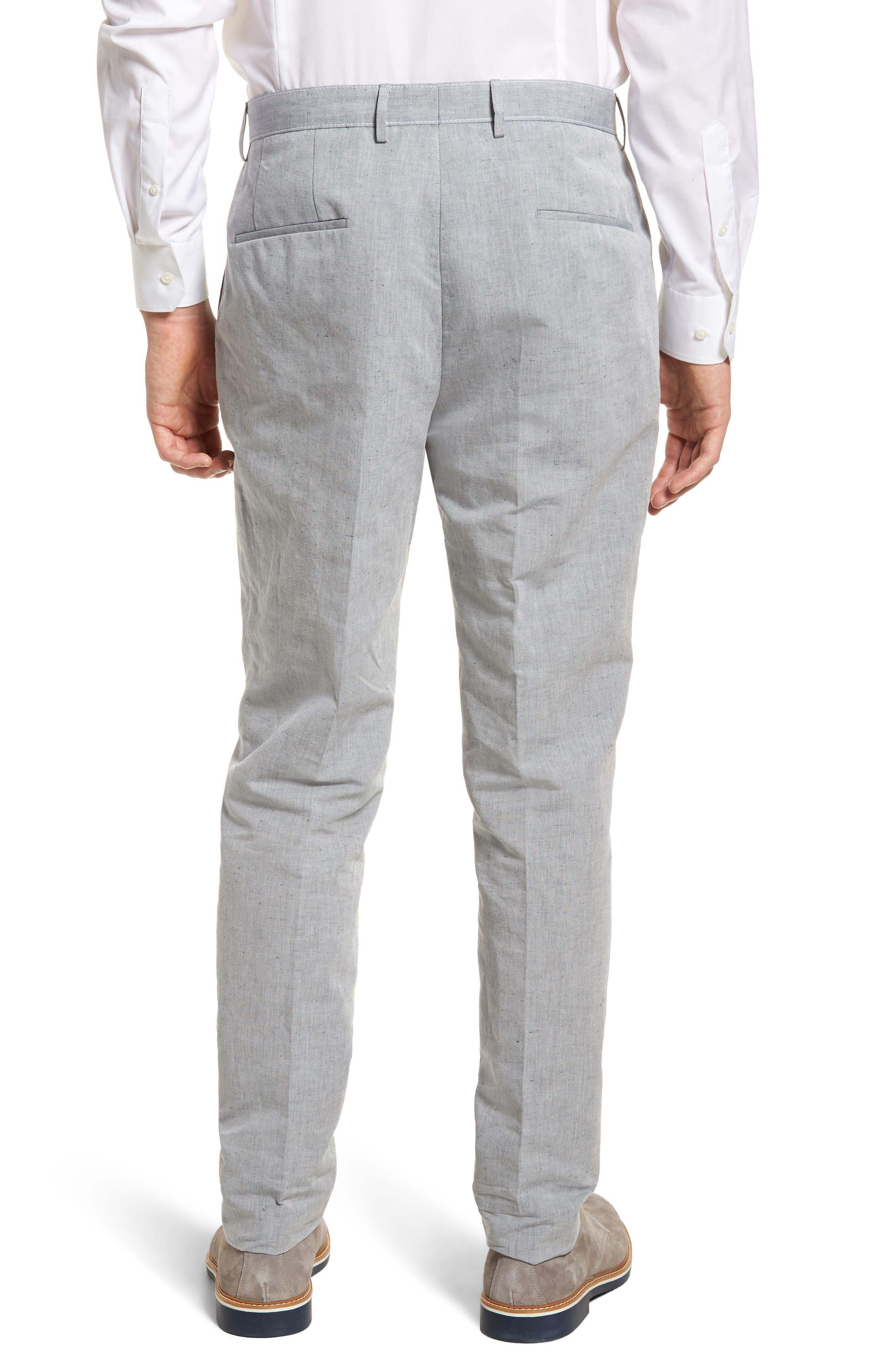 Pirko Flat Front Linen & Cotton Trousers,                             Alternate thumbnail 2, color,                             020