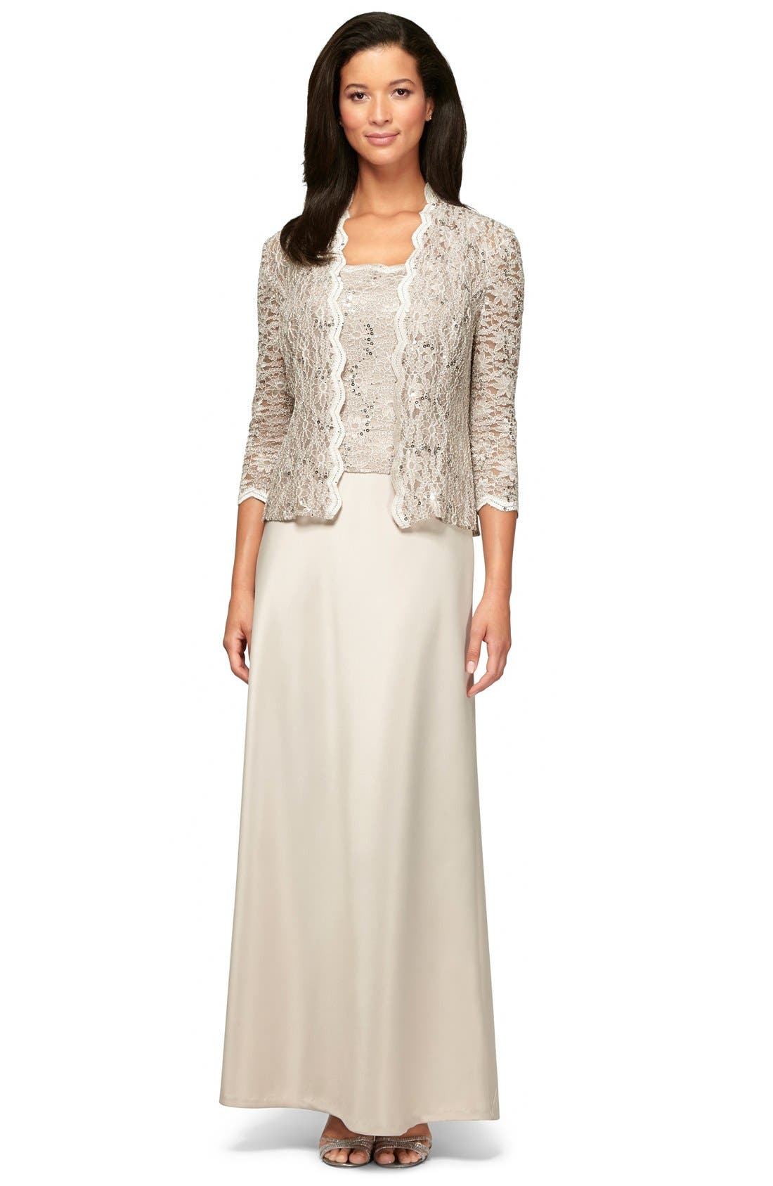Sequin Lace & Satin Gown with Jacket,                             Alternate thumbnail 6, color,                             TAUPE