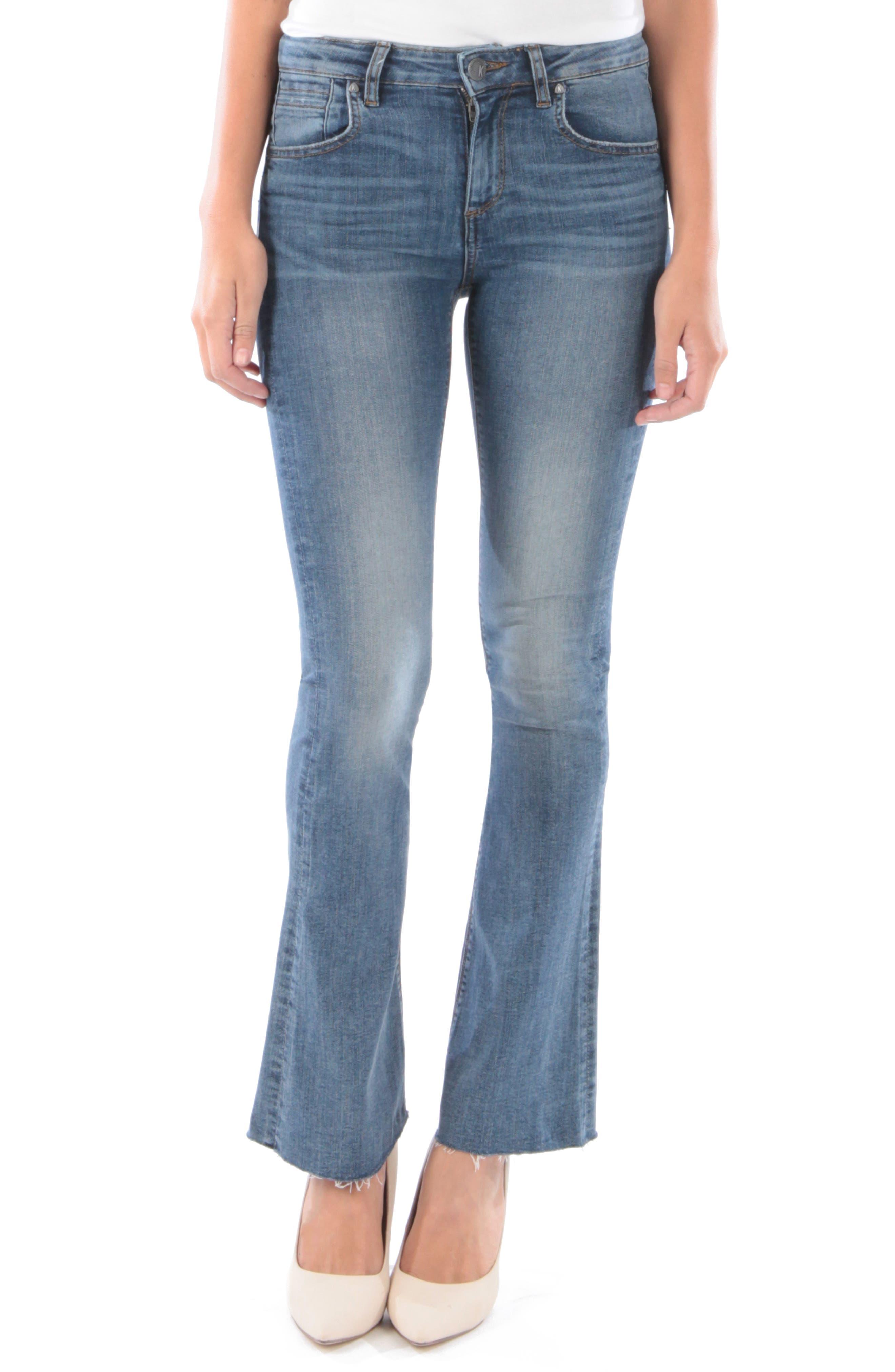 Kut From The Kloth Stella Raw Hem Flare Jeans, Blue
