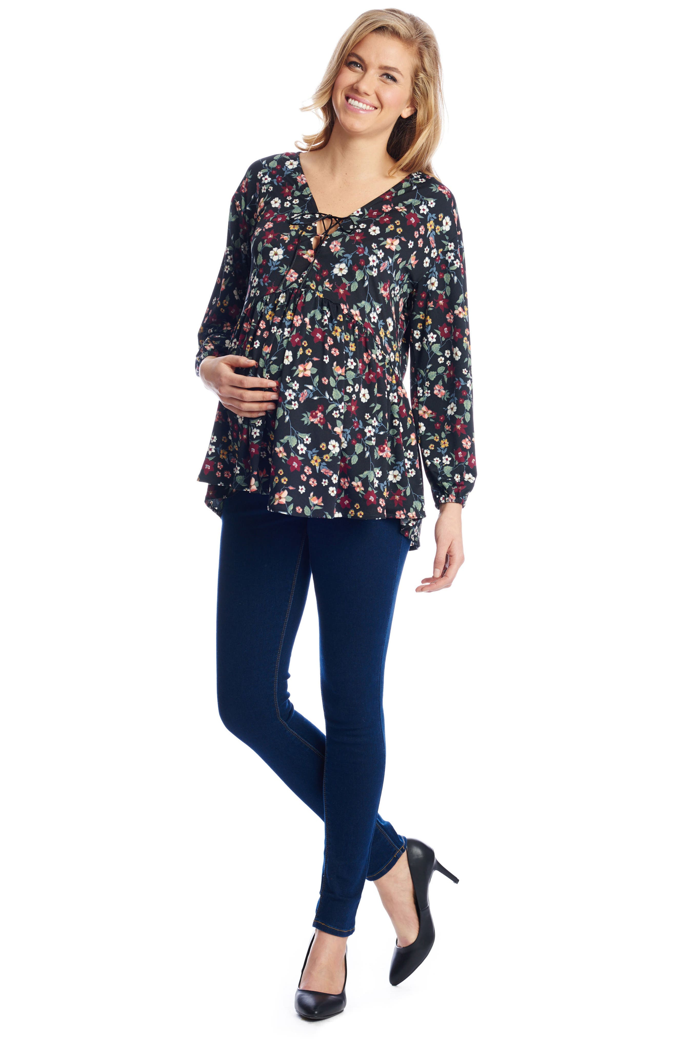 Victoria Lace-Up Maternity Top,                             Alternate thumbnail 3, color,                             605