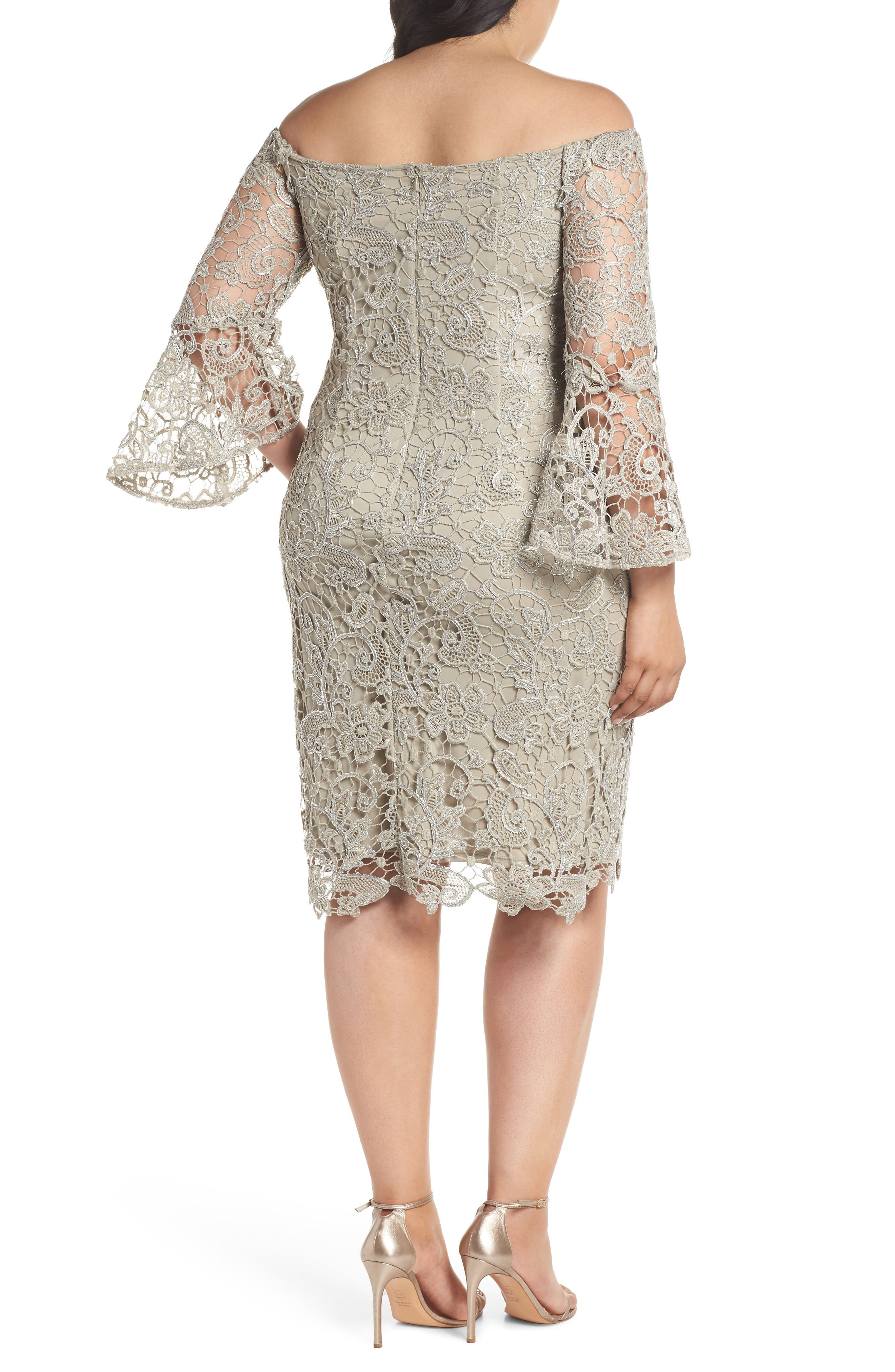 Lace Off the Shoulder Bell Sleeve Dress,                             Alternate thumbnail 2, color,                             250