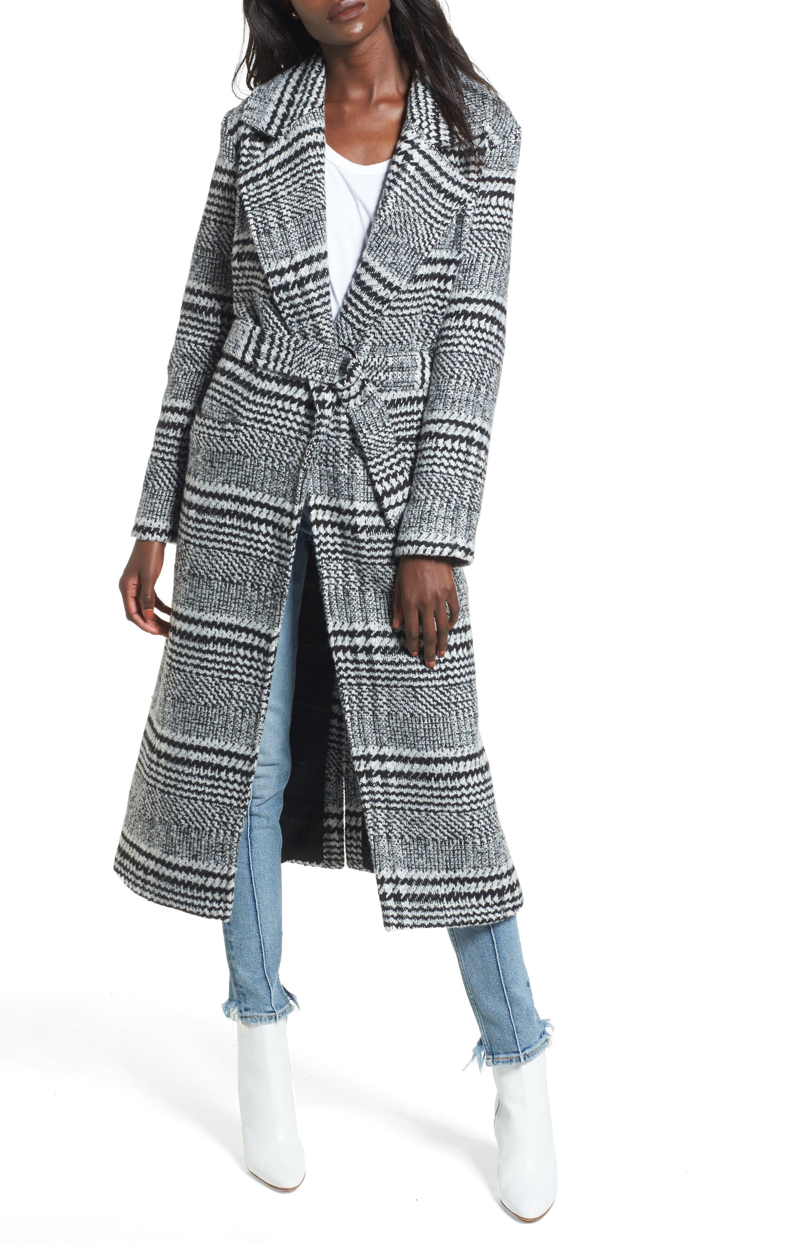 Sabra Longline Plaid Coat,                             Alternate thumbnail 4, color,                             001