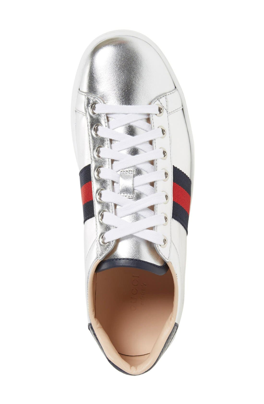 GUCCI,                             'New Ace' Metallic Low Top Sneaker,                             Alternate thumbnail 2, color,                             040