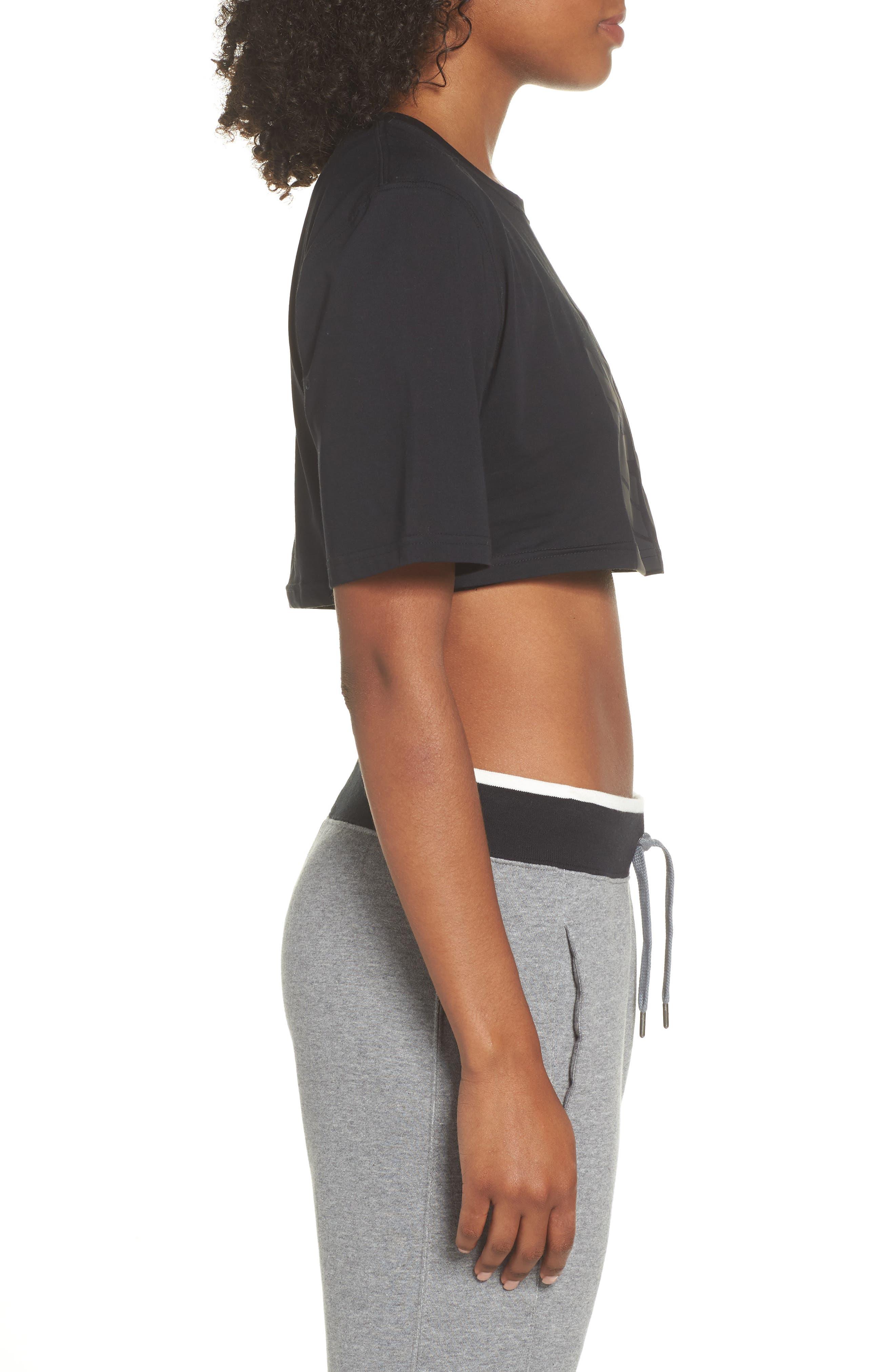 NikeLab Collection Jersey Crop Top,                             Alternate thumbnail 3, color,                             BLACK/ BLACK