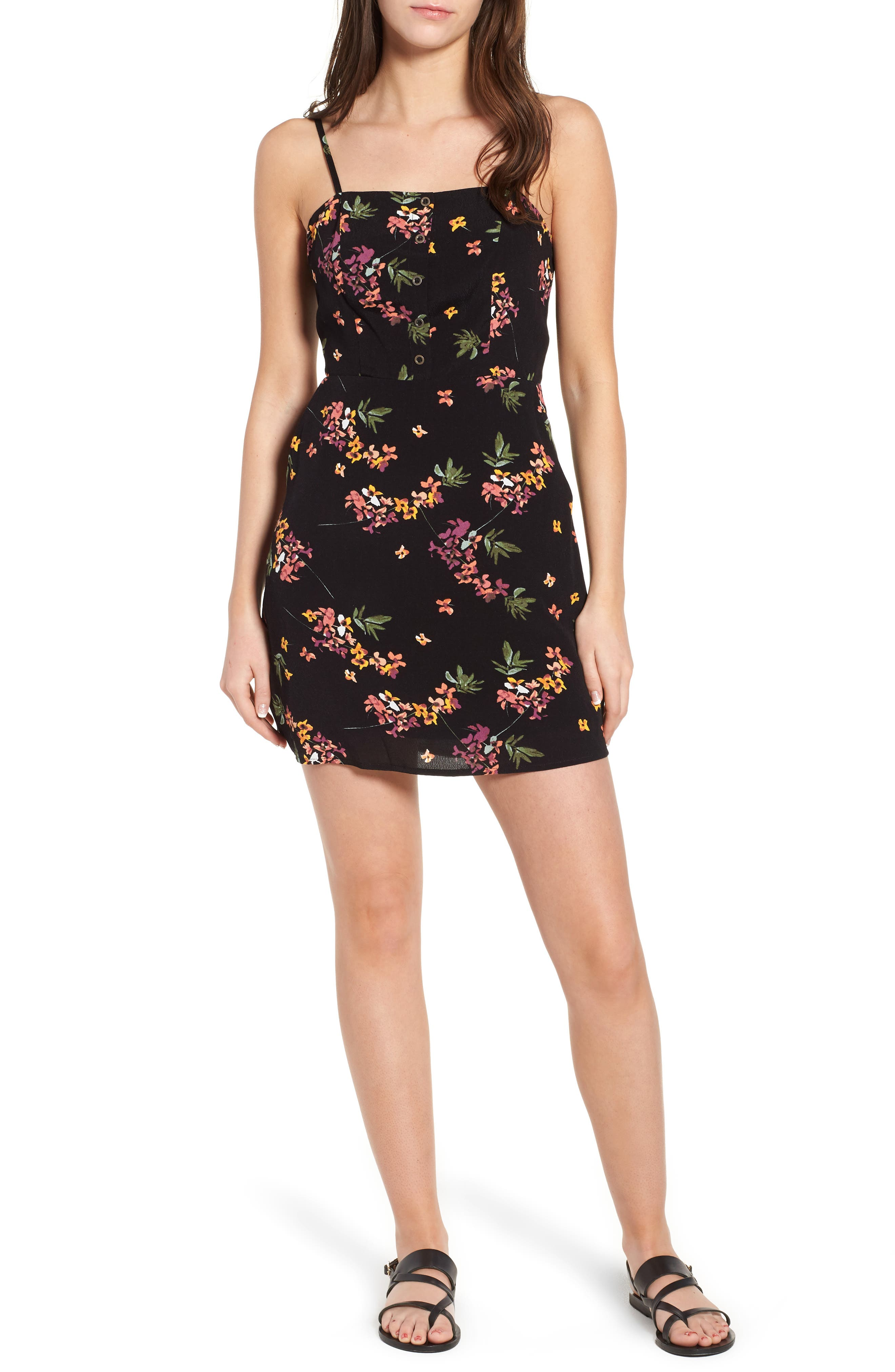 Floral Tie Back Minidress,                             Main thumbnail 1, color,                             001