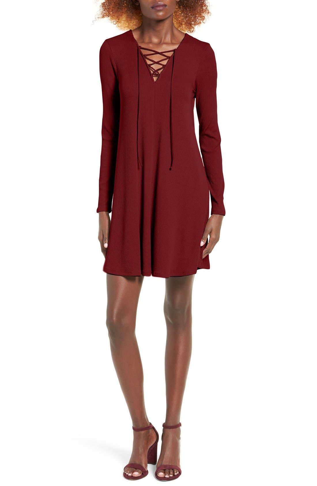 Rib Knit Lace-Up Swing Dress,                             Main thumbnail 4, color,