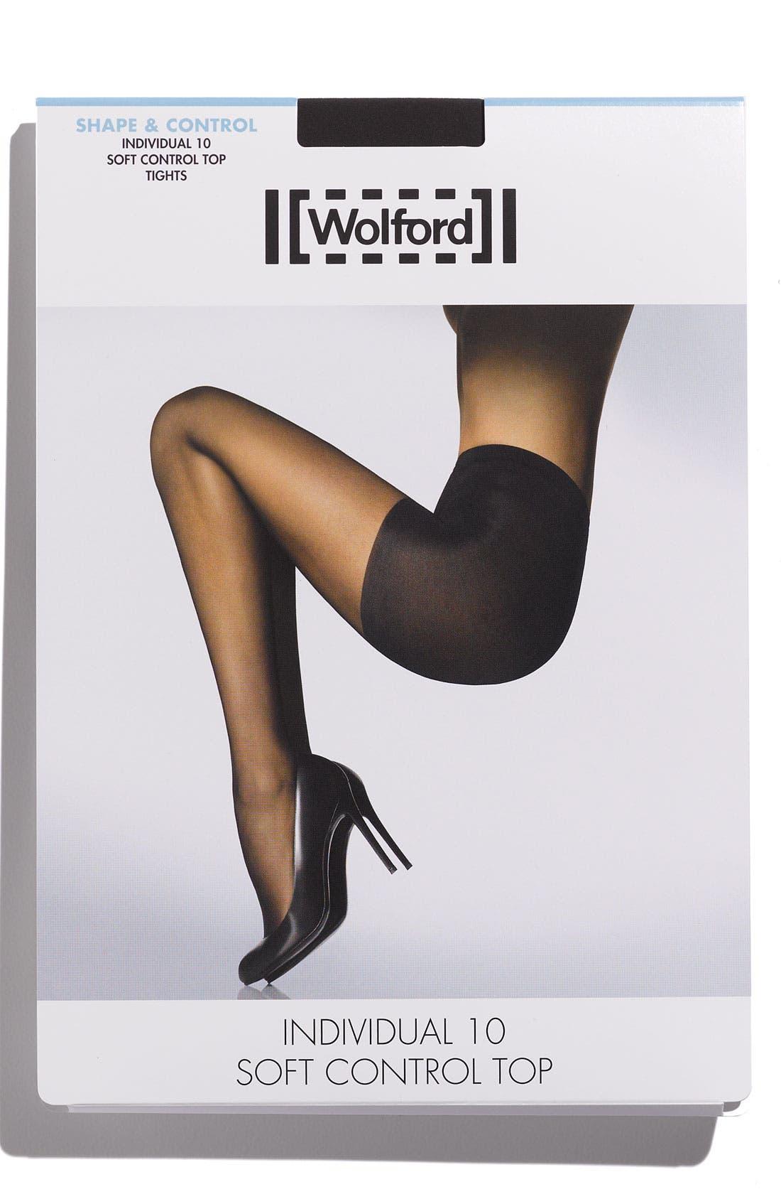 WOLFORD,                             Individual 10 Control Top Pantyhose,                             Alternate thumbnail 2, color,                             BLACK