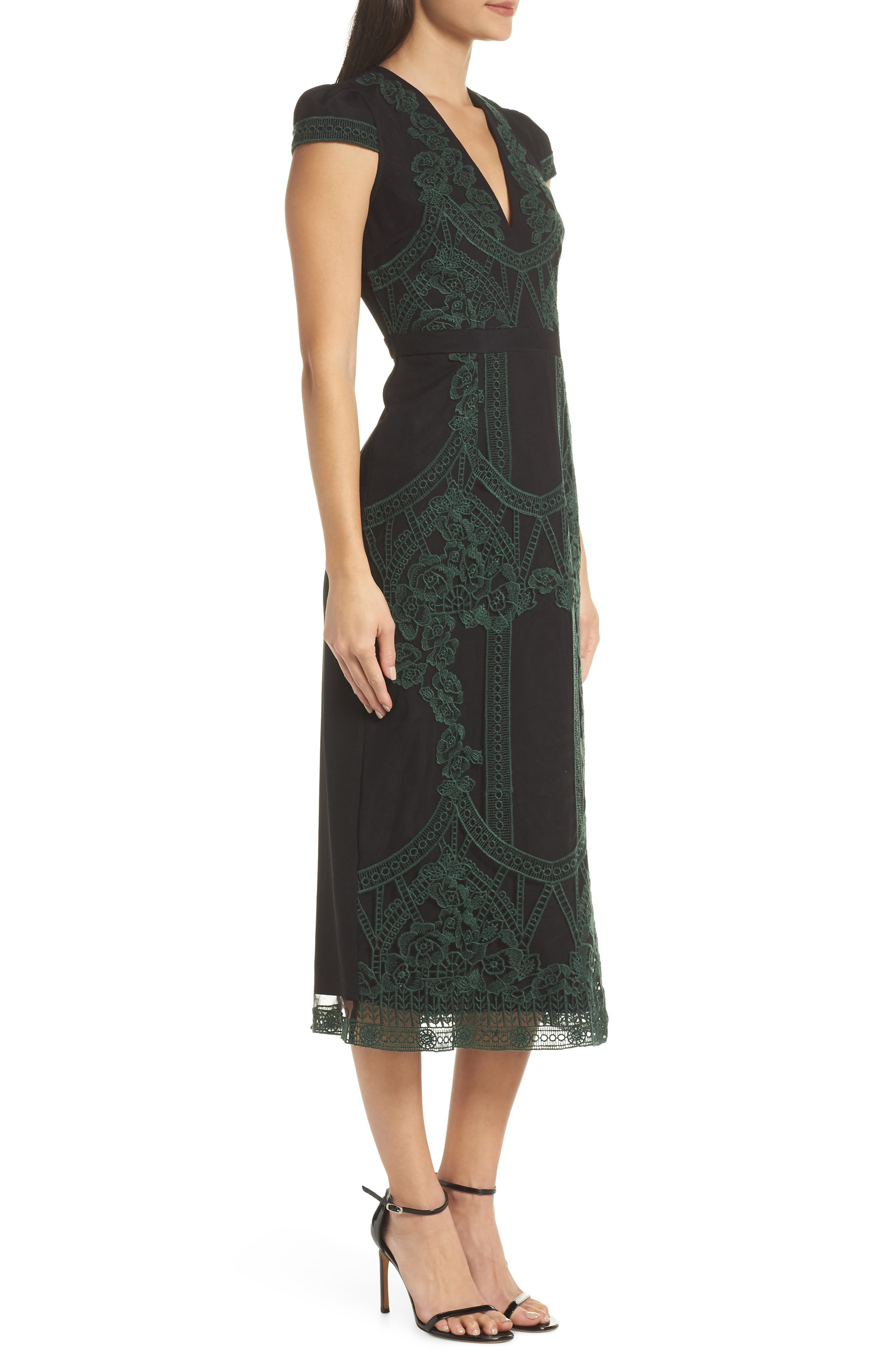 Remmy Embroidered Midi Dress,                             Alternate thumbnail 3, color,                             GREEN MULTI
