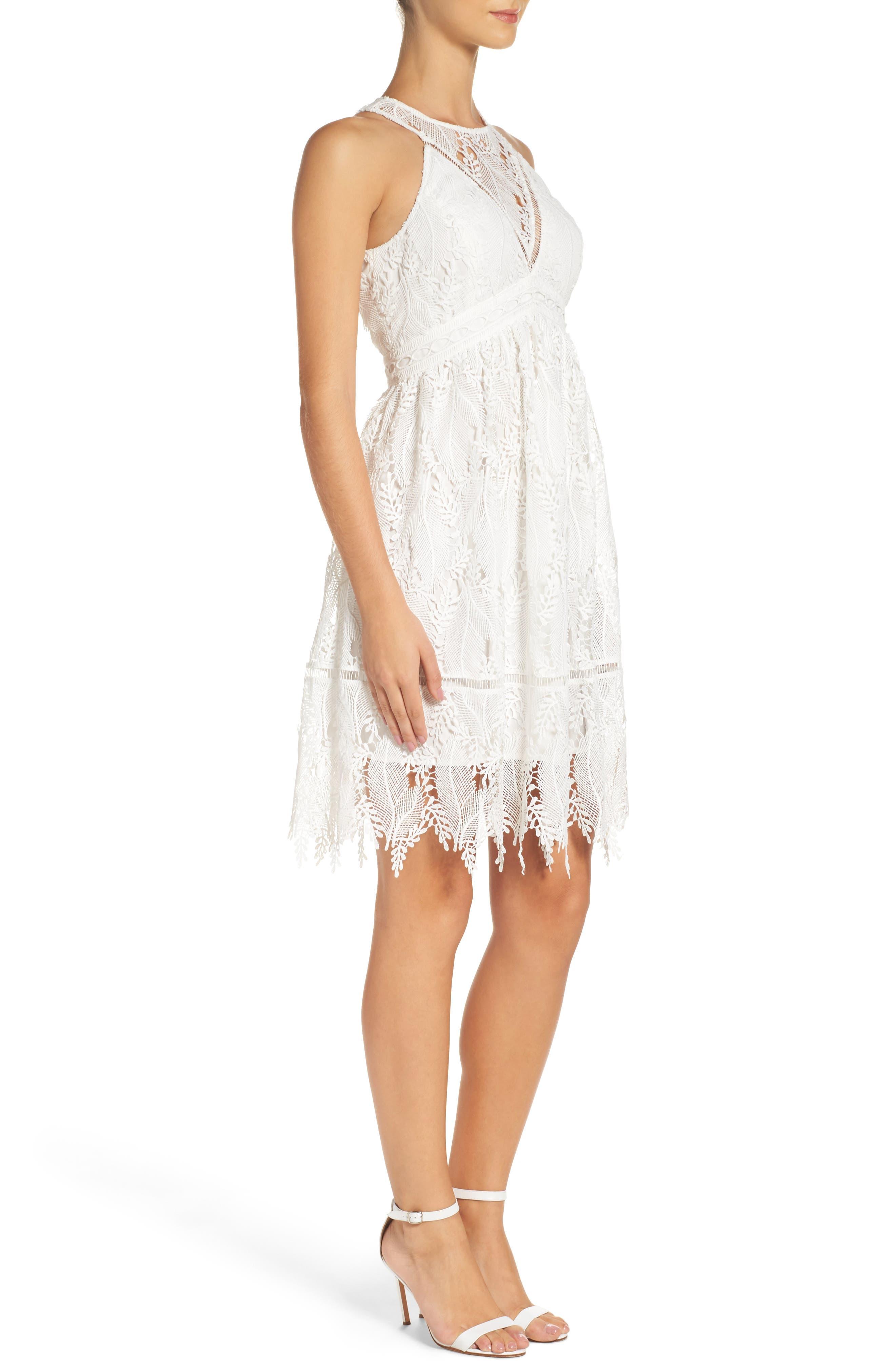 Lace Fit & Flare Dress,                             Alternate thumbnail 3, color,                             100