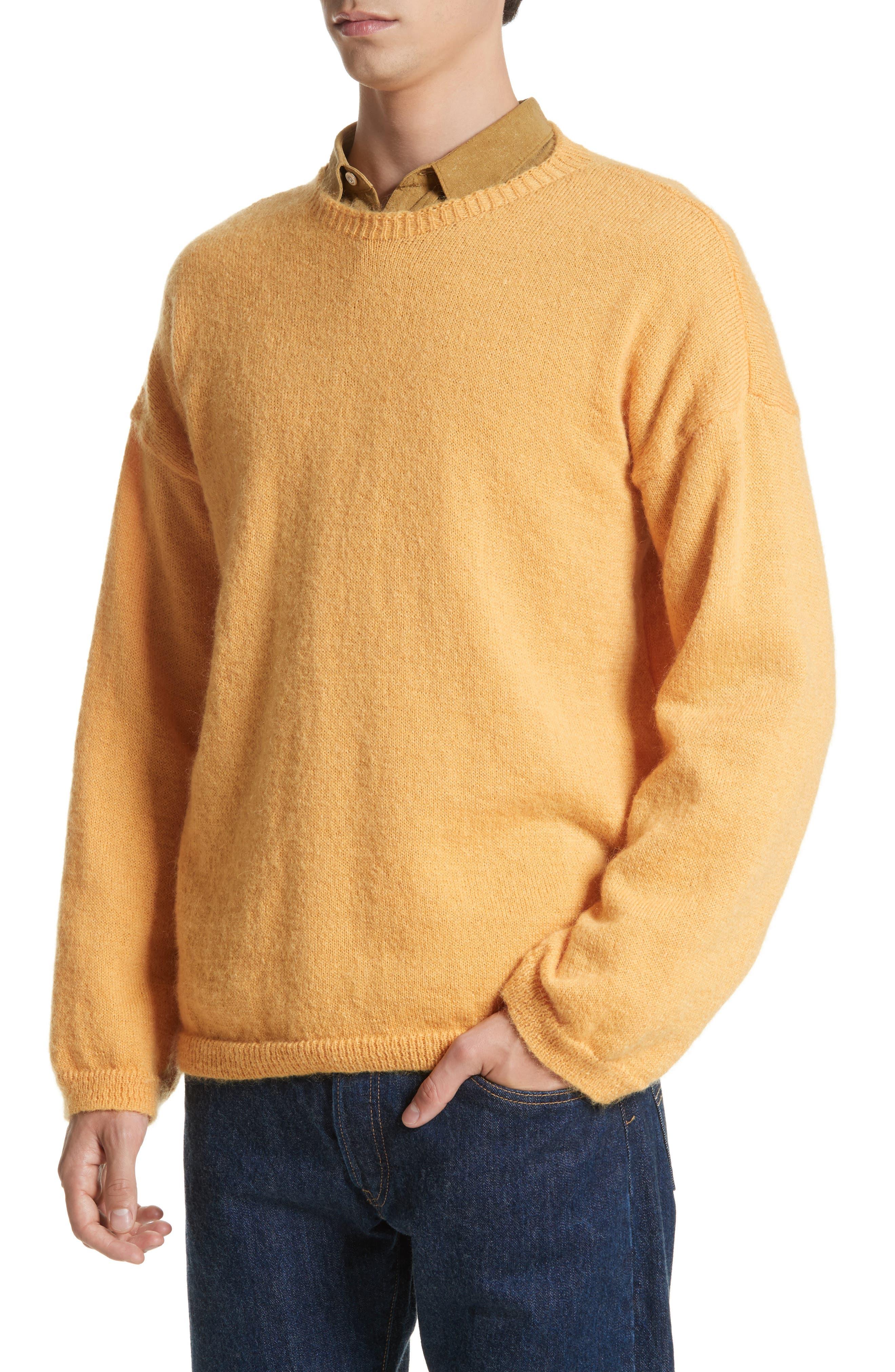 Mohair Blend Crewneck Sweater,                             Alternate thumbnail 4, color,