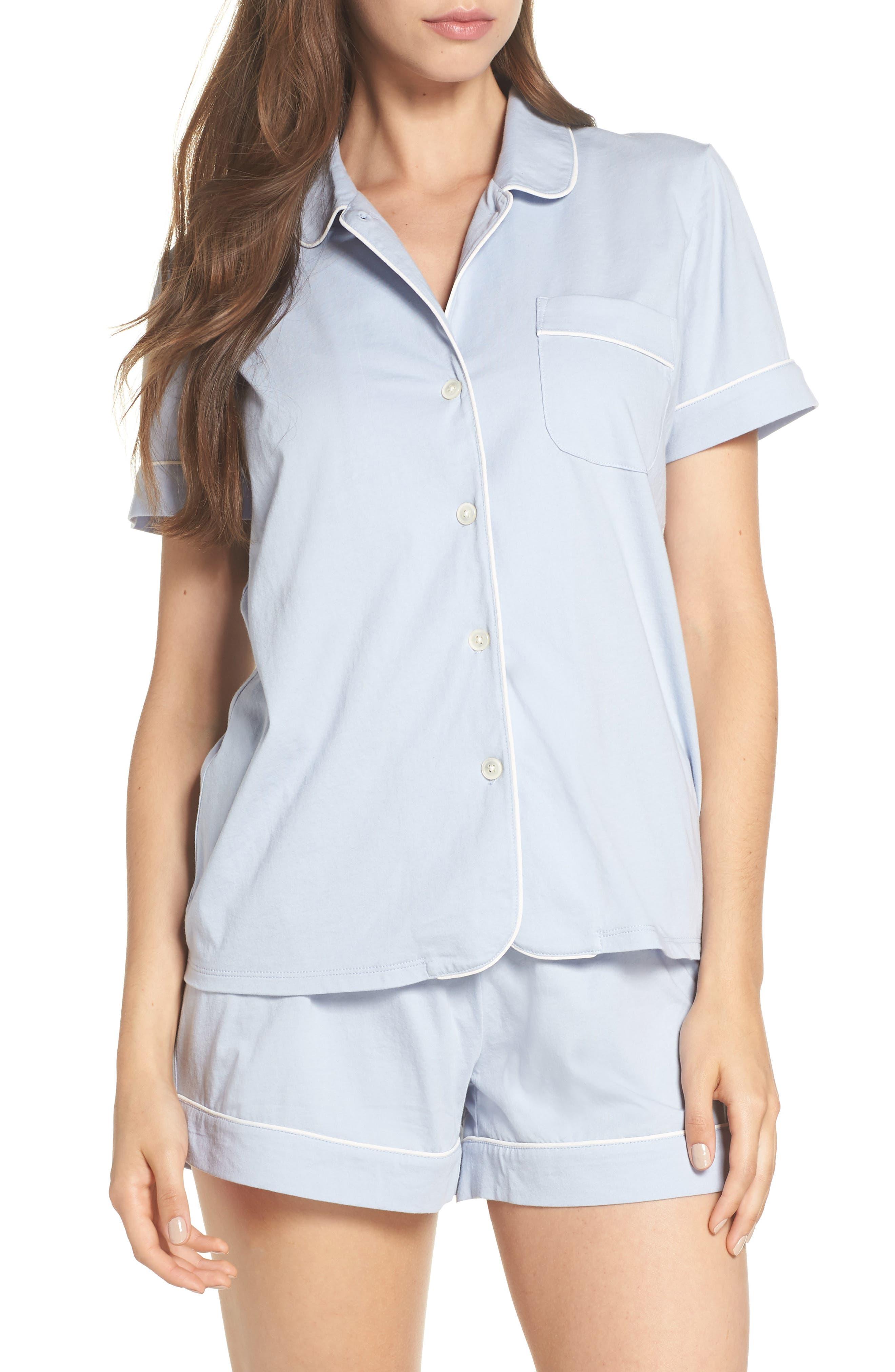 Short Sleeve Knit Pajamas,                         Main,                         color, PERI SHADOW