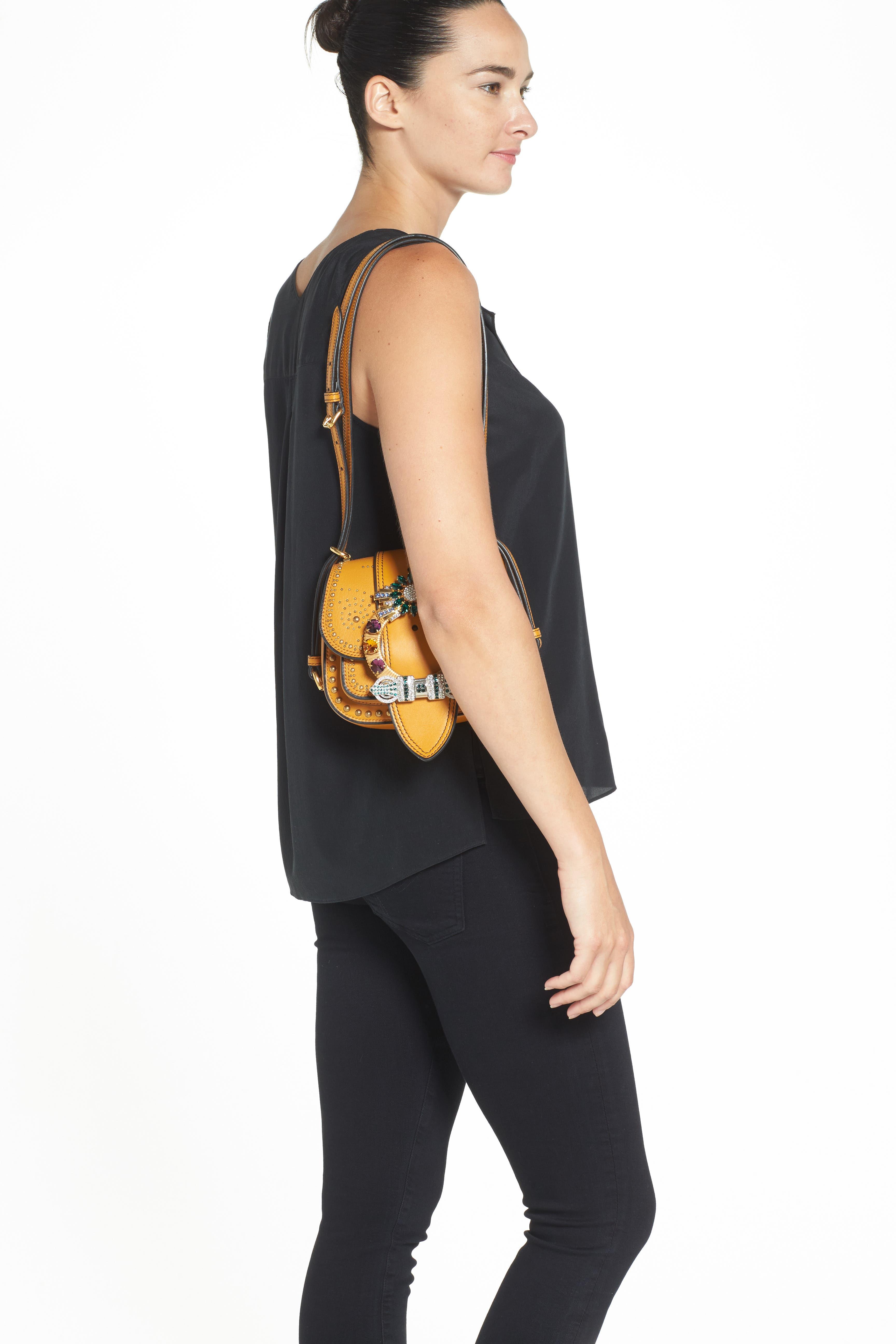 MIU MIU,                             'Dahlia' Goatskin Leather Saddle Bag,                             Alternate thumbnail 3, color,                             814