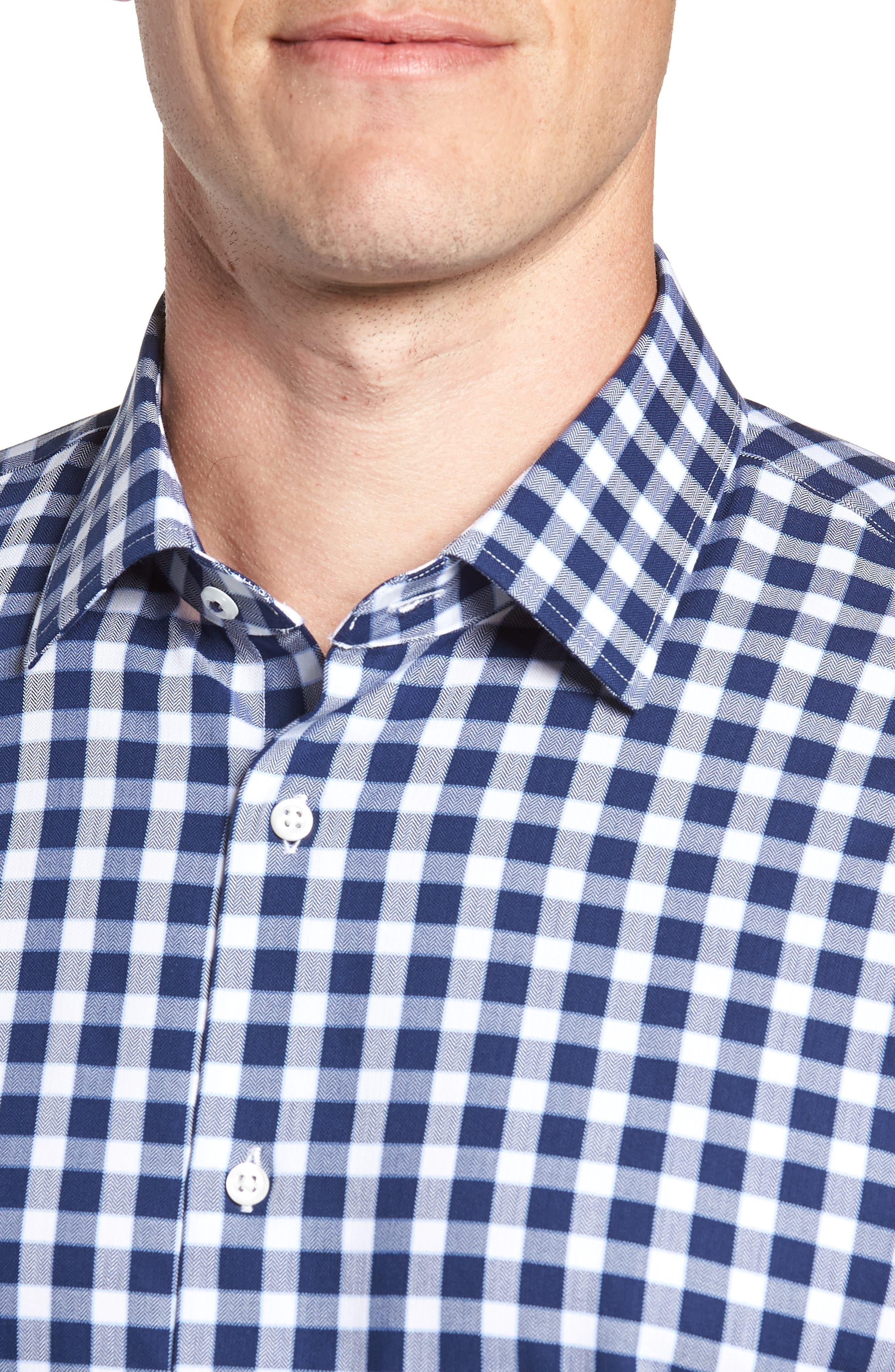 Tech-Smart Trim Fit Stretch Check Dress Shirt,                             Alternate thumbnail 2, color,                             NAVY PEACOAT