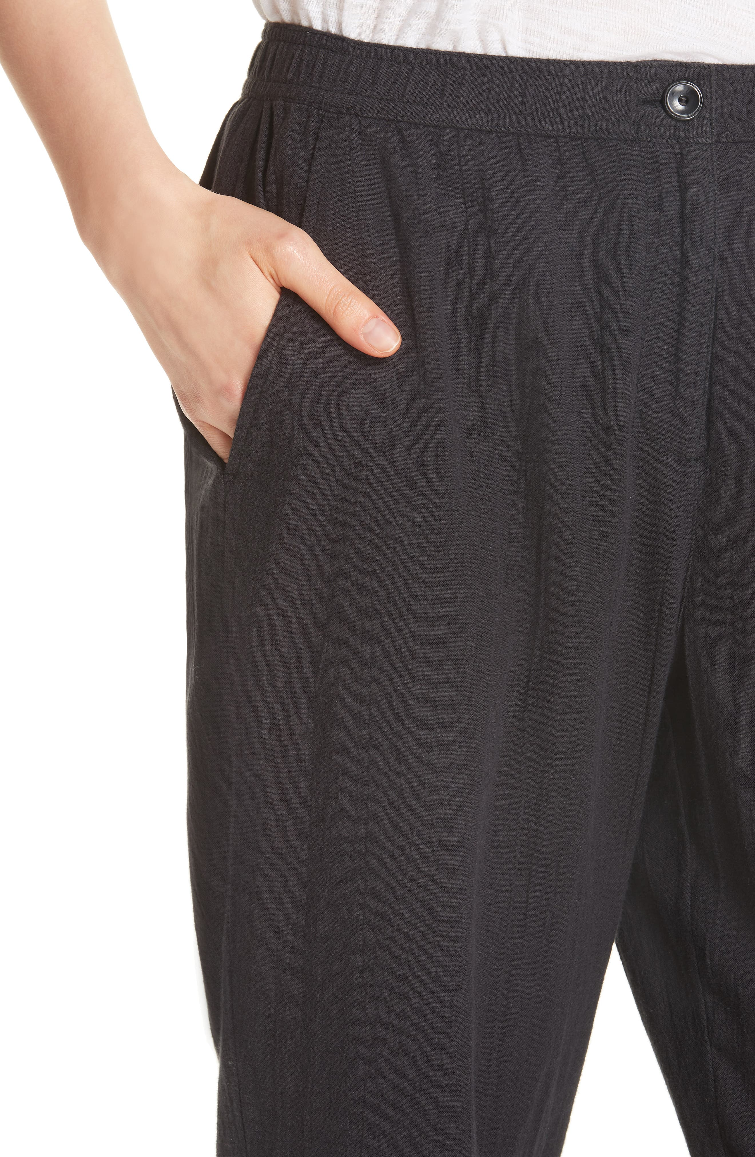 Tapered Cropped Pants,                             Alternate thumbnail 4, color,                             001