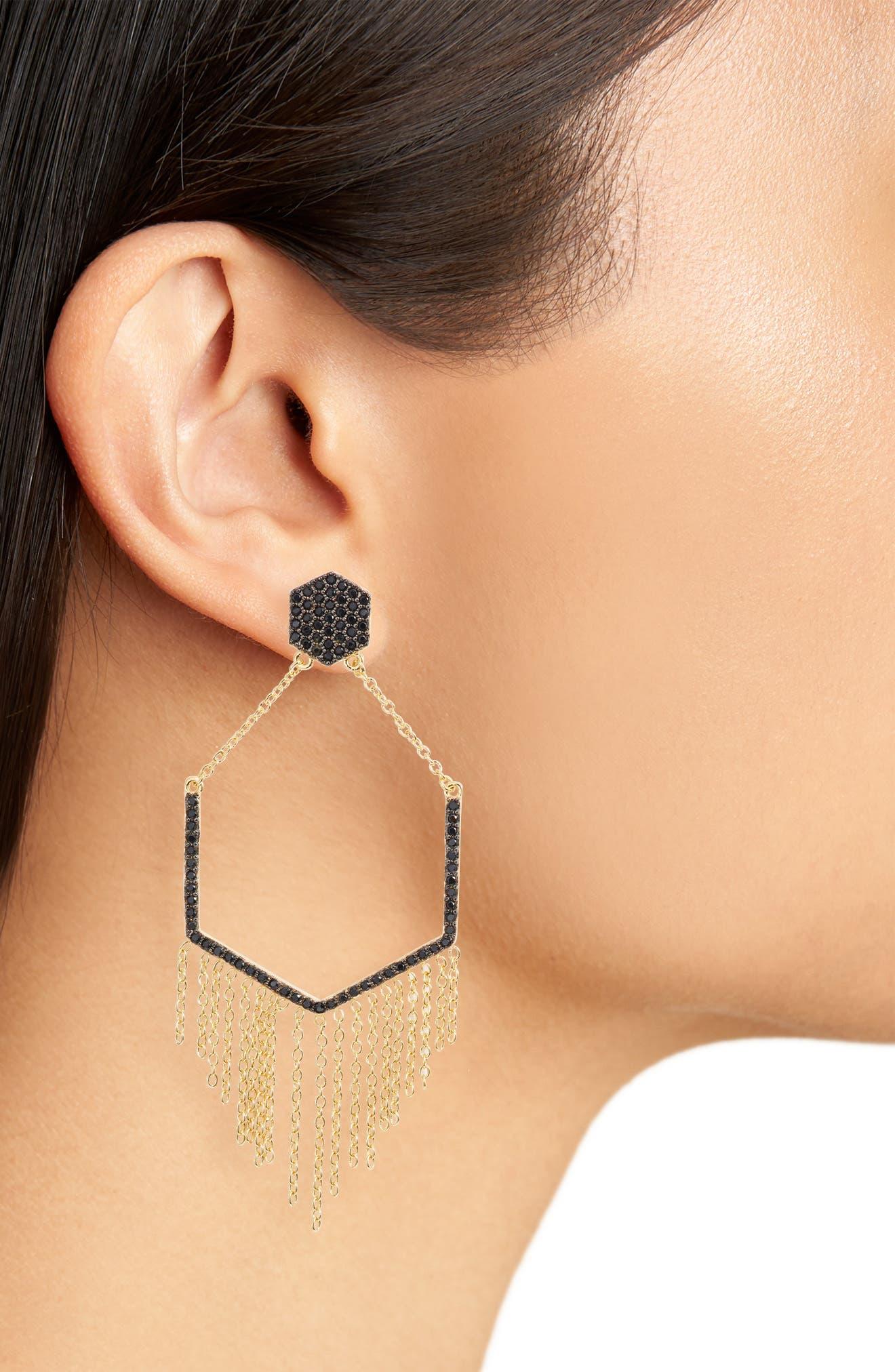 Geo Daze Fringe Drop Earrings,                             Alternate thumbnail 2, color,                             GOLD/ BLACK