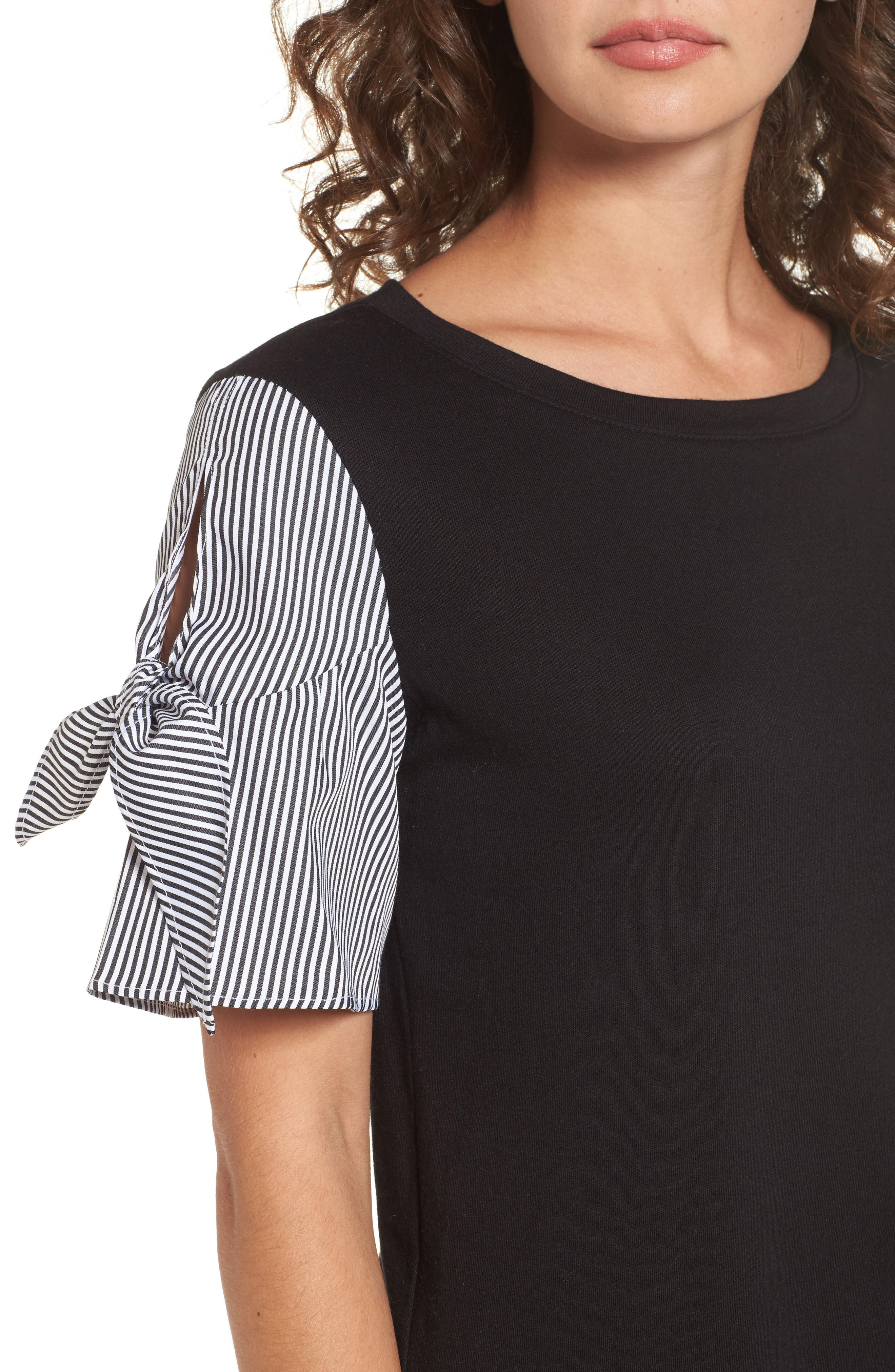 Poplin Sleeve Knit Dress,                             Alternate thumbnail 4, color,                             001
