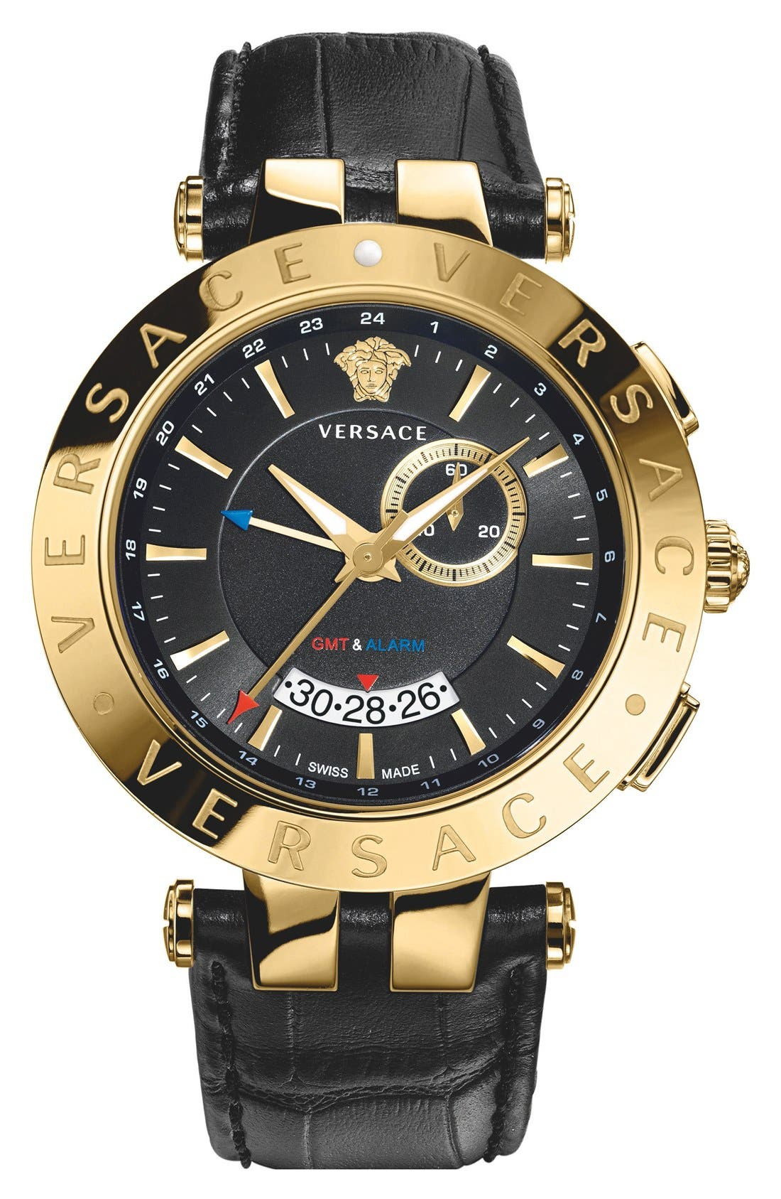'V-Race GMT' Leather Strap Watch, 46mm, Main, color, 001