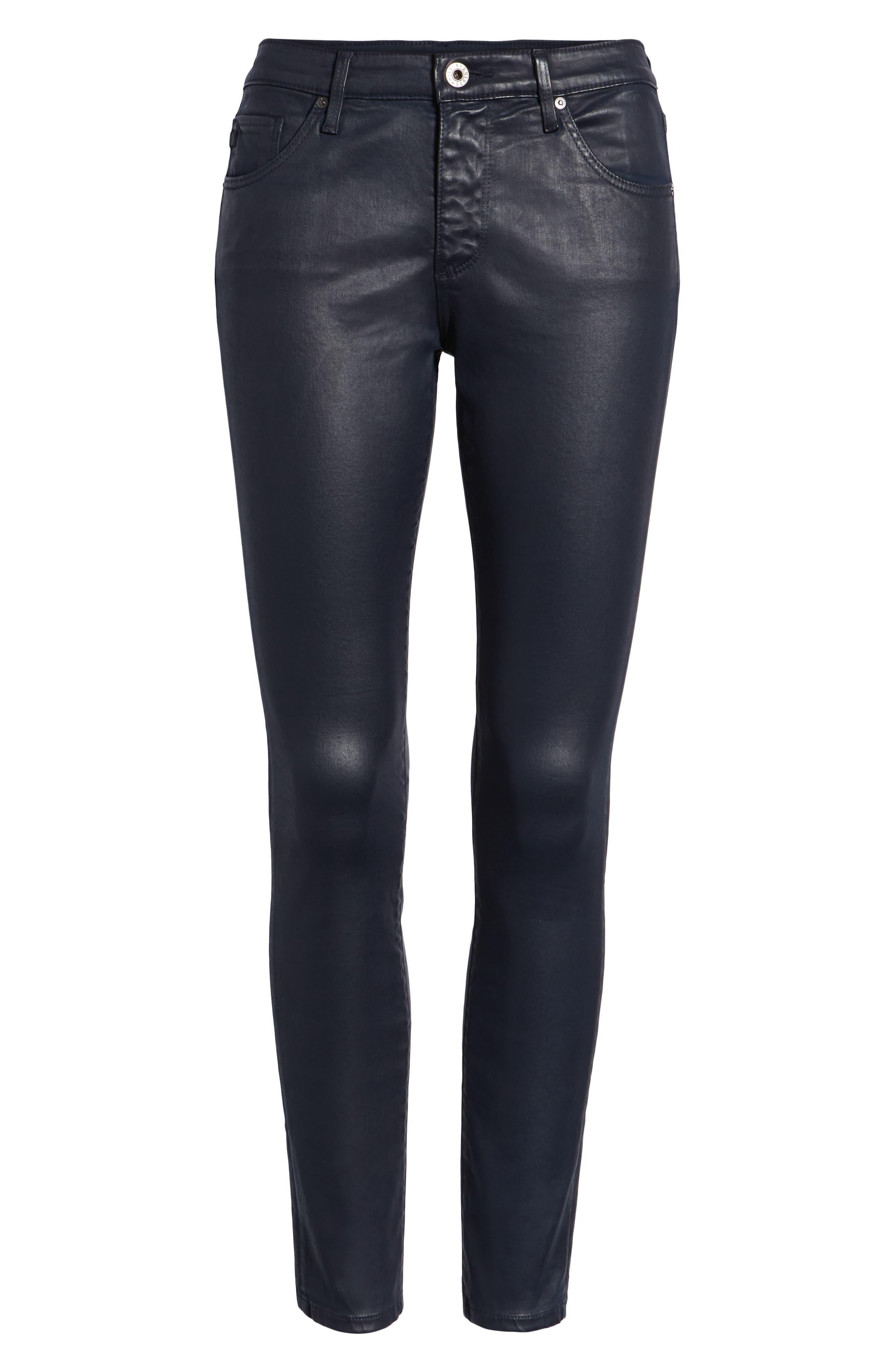 'The Legging' Coated Ankle Jeans,                             Alternate thumbnail 7, color,                             LEATHERETT BLUE VAULT