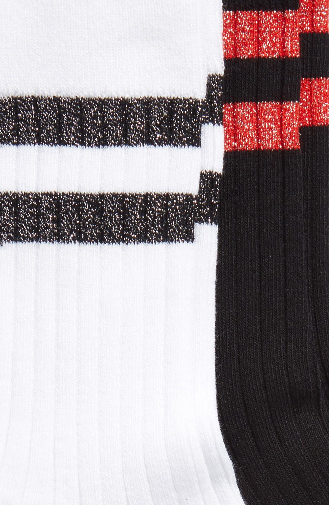 2-Pack Metallic Stripe Ribbed Socks,                             Alternate thumbnail 2, color,                             100