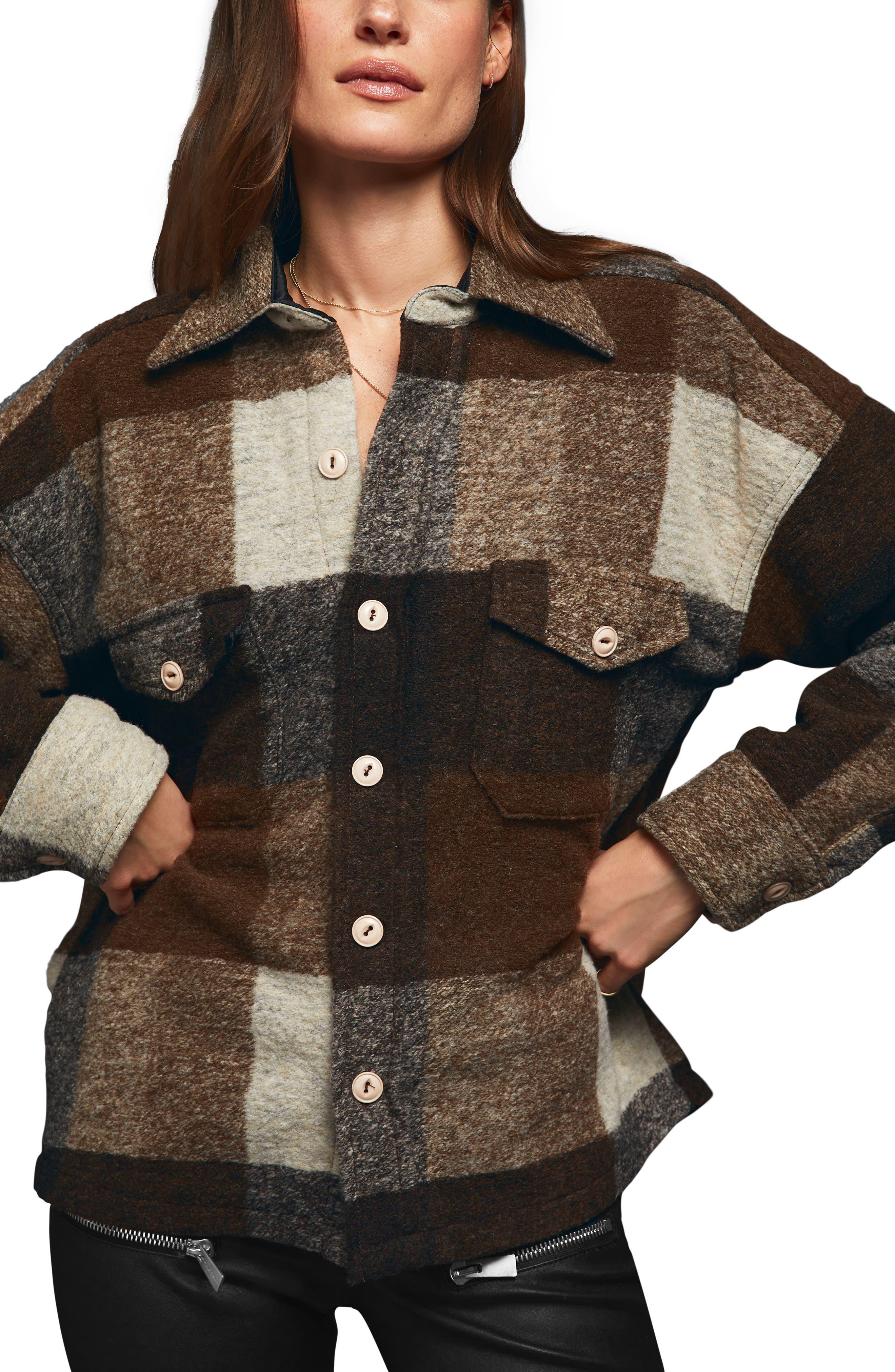 Bobbi Flannel Shirt Jacket, Main, color, BROWN