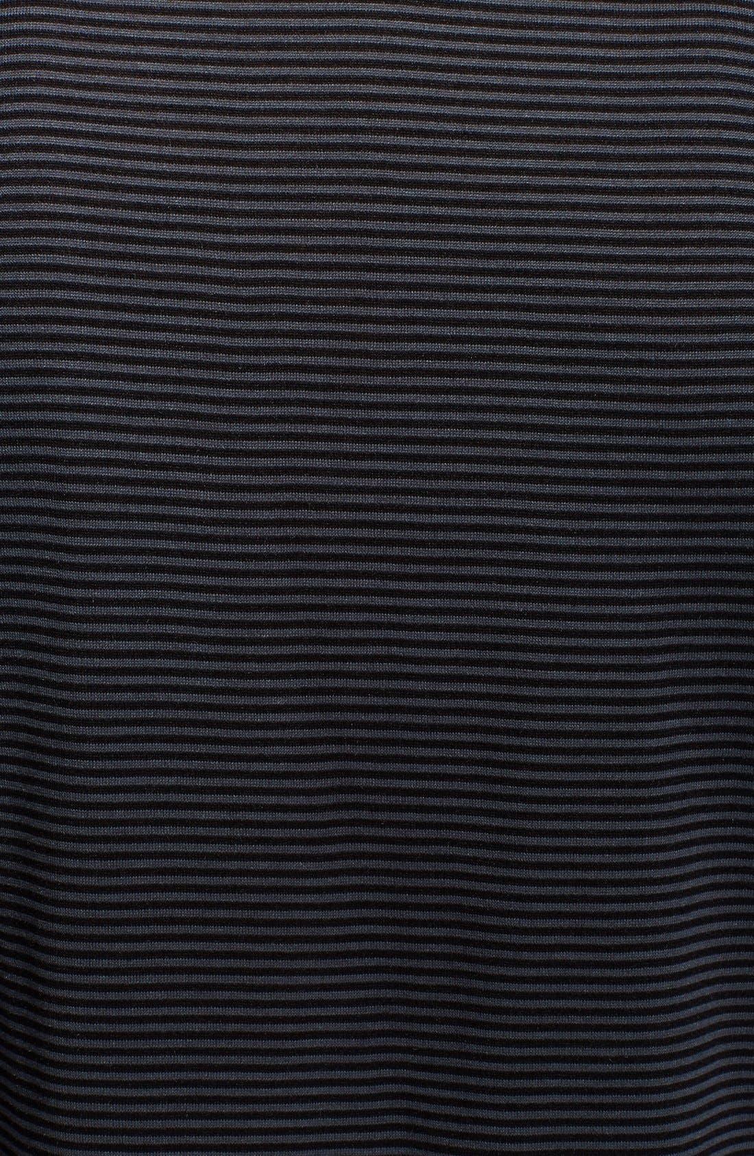 Hampton Stripe Silk & Cotton Polo,                             Alternate thumbnail 3, color,                             BLACK