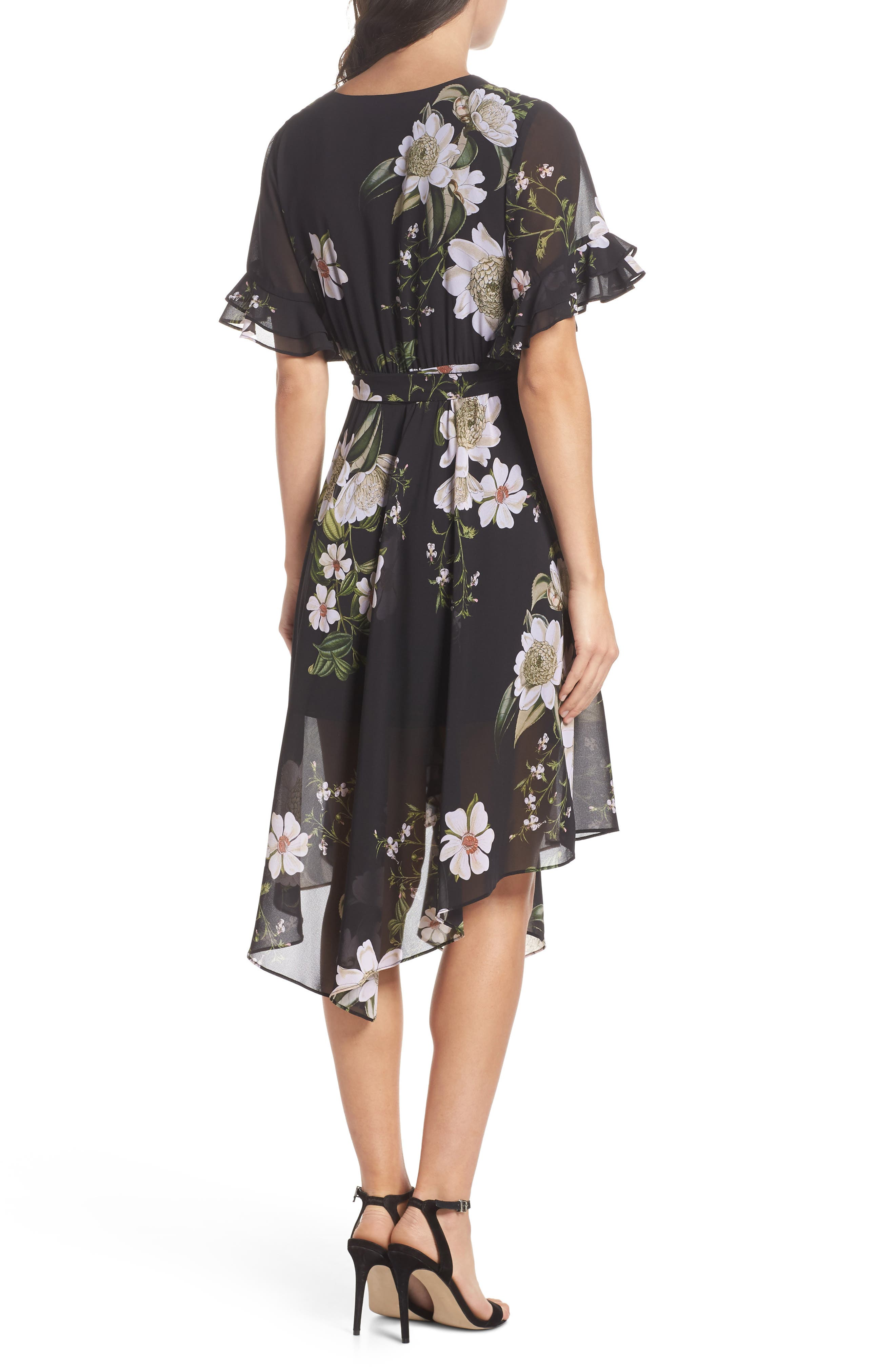 Floral Print Wrap Dress,                             Alternate thumbnail 2, color,                             001