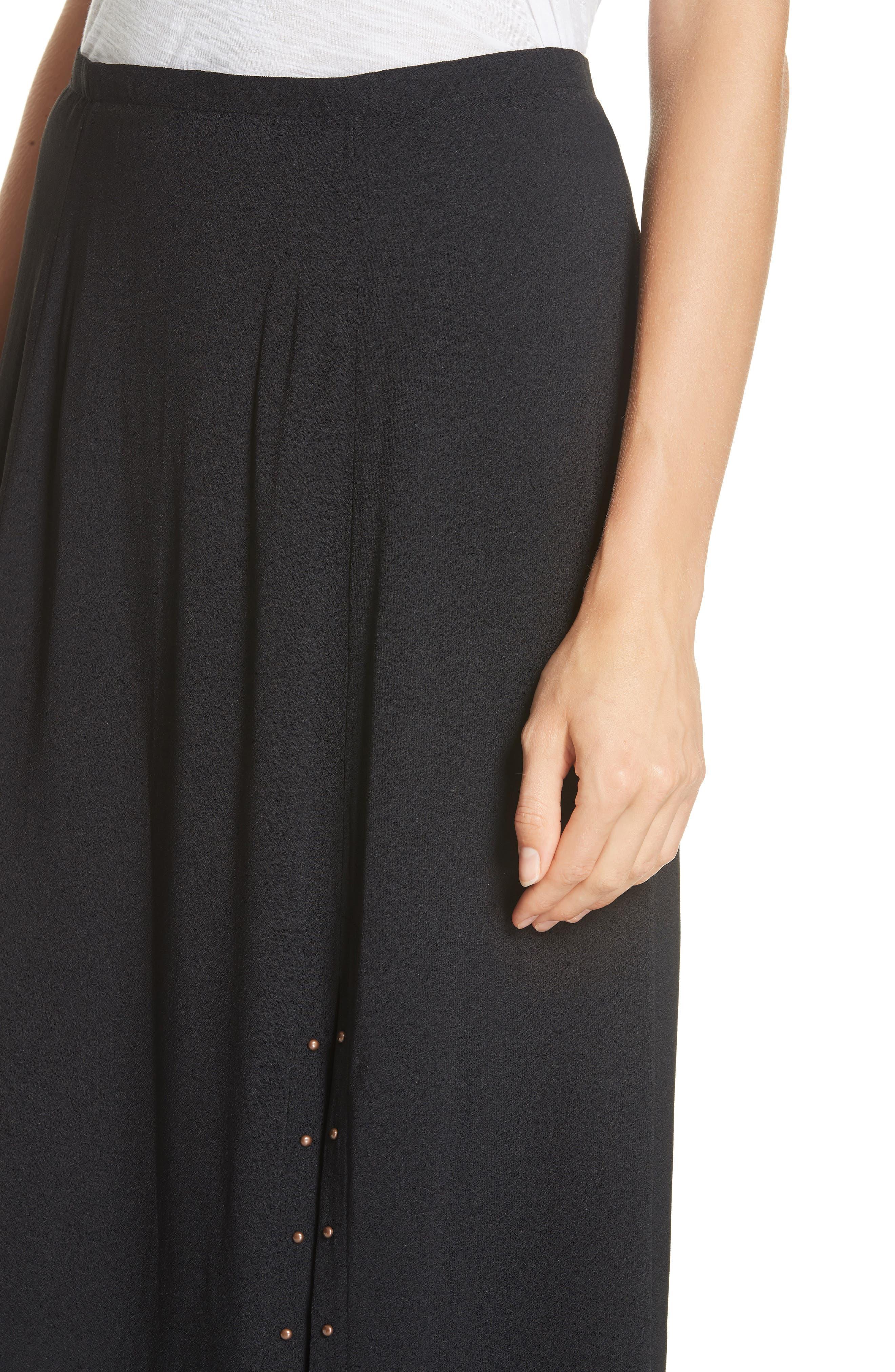 Slit Detail Midi Skirt,                             Alternate thumbnail 4, color,                             BLACK