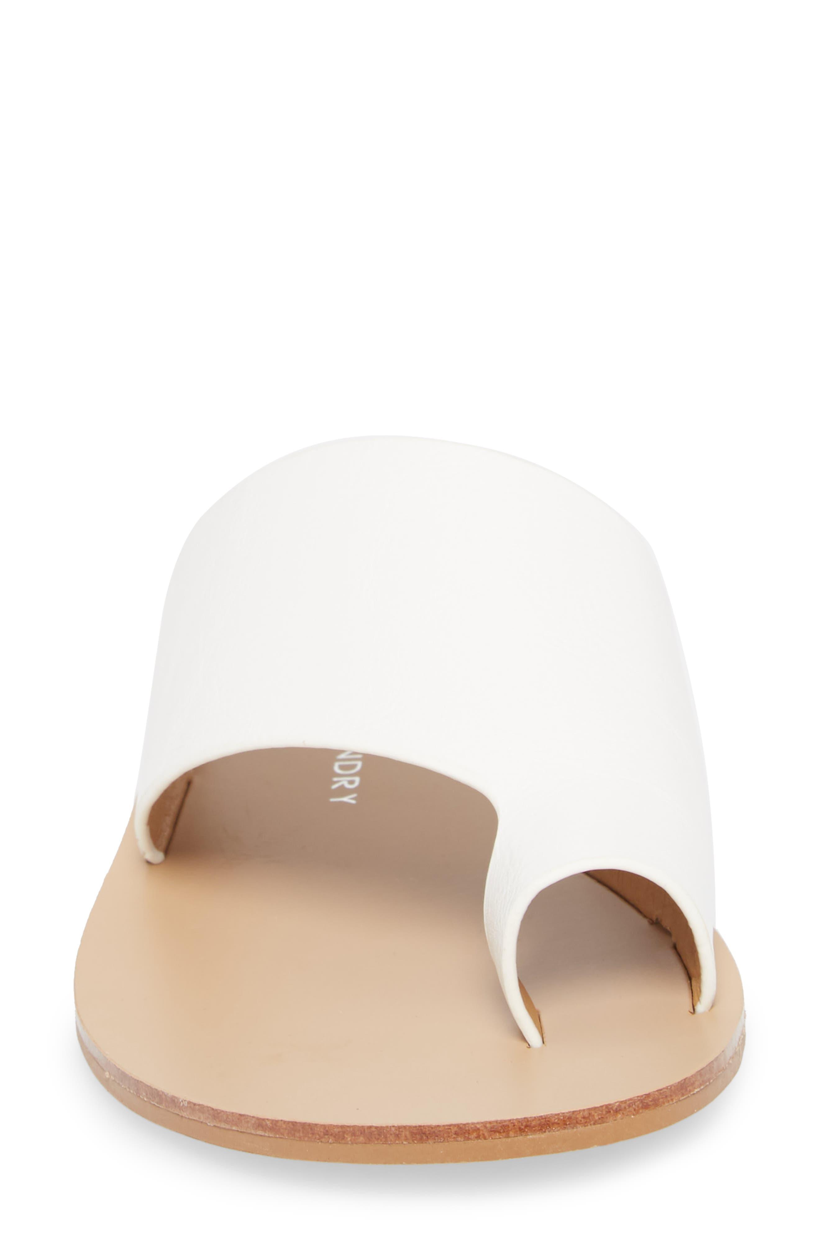 Glory Asymmetrical Slide Sandal,                             Alternate thumbnail 4, color,                             WHITE