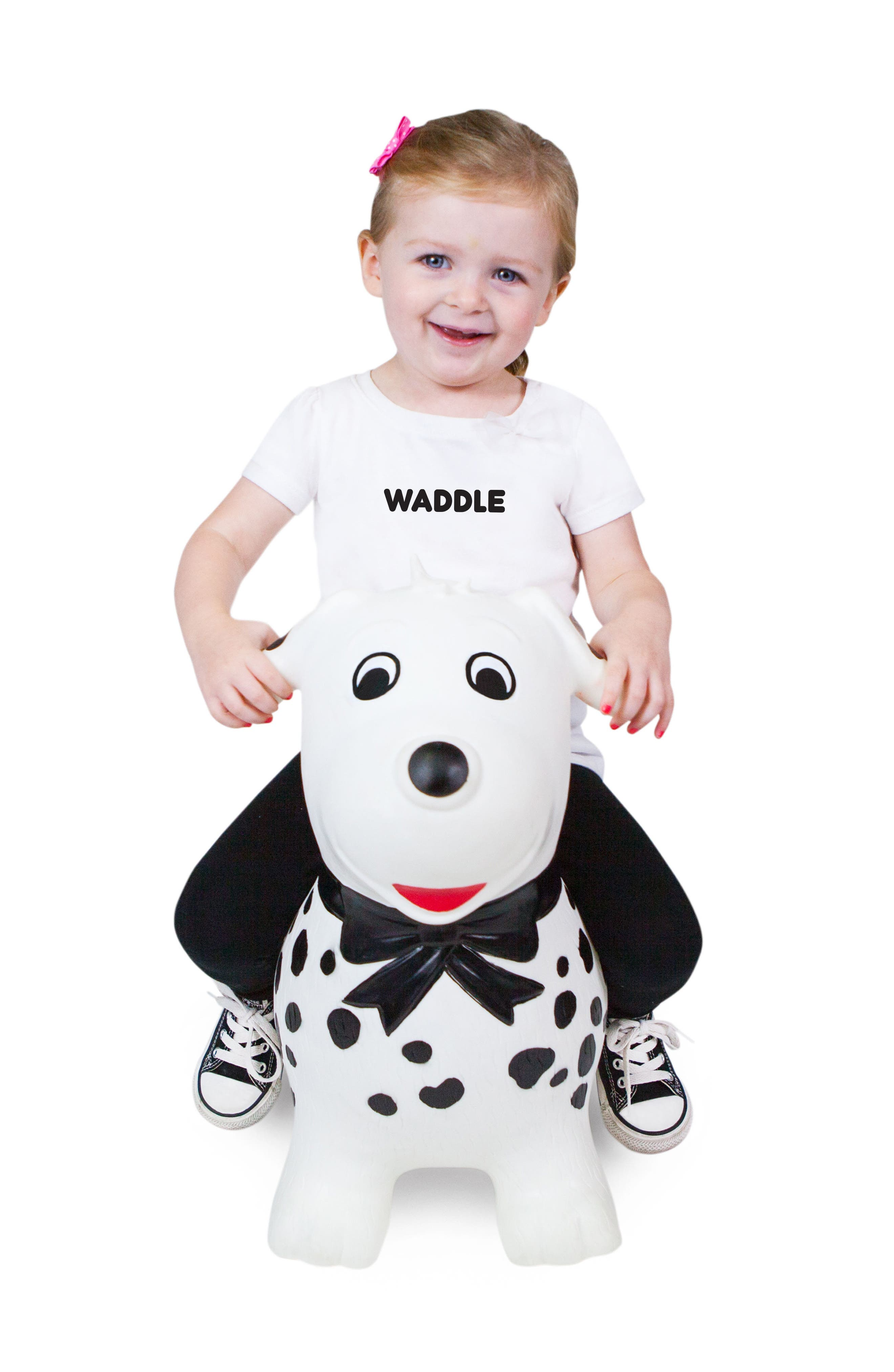 Spots Bouncy Ride-On Dog Toy,                             Alternate thumbnail 3, color,                             WHITE/ BLACK