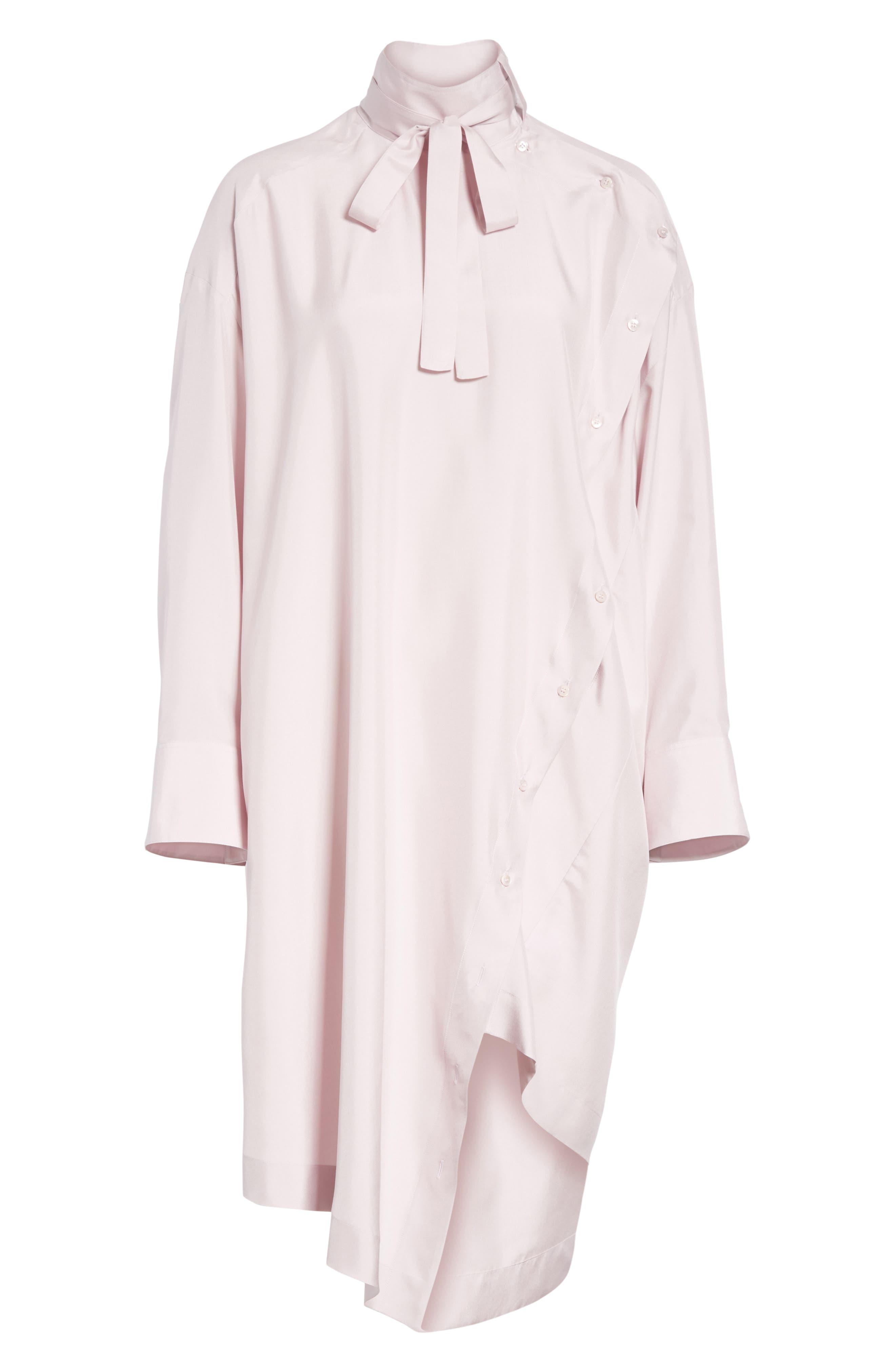 Tie Neck Silk Dress,                             Alternate thumbnail 6, color,                             650