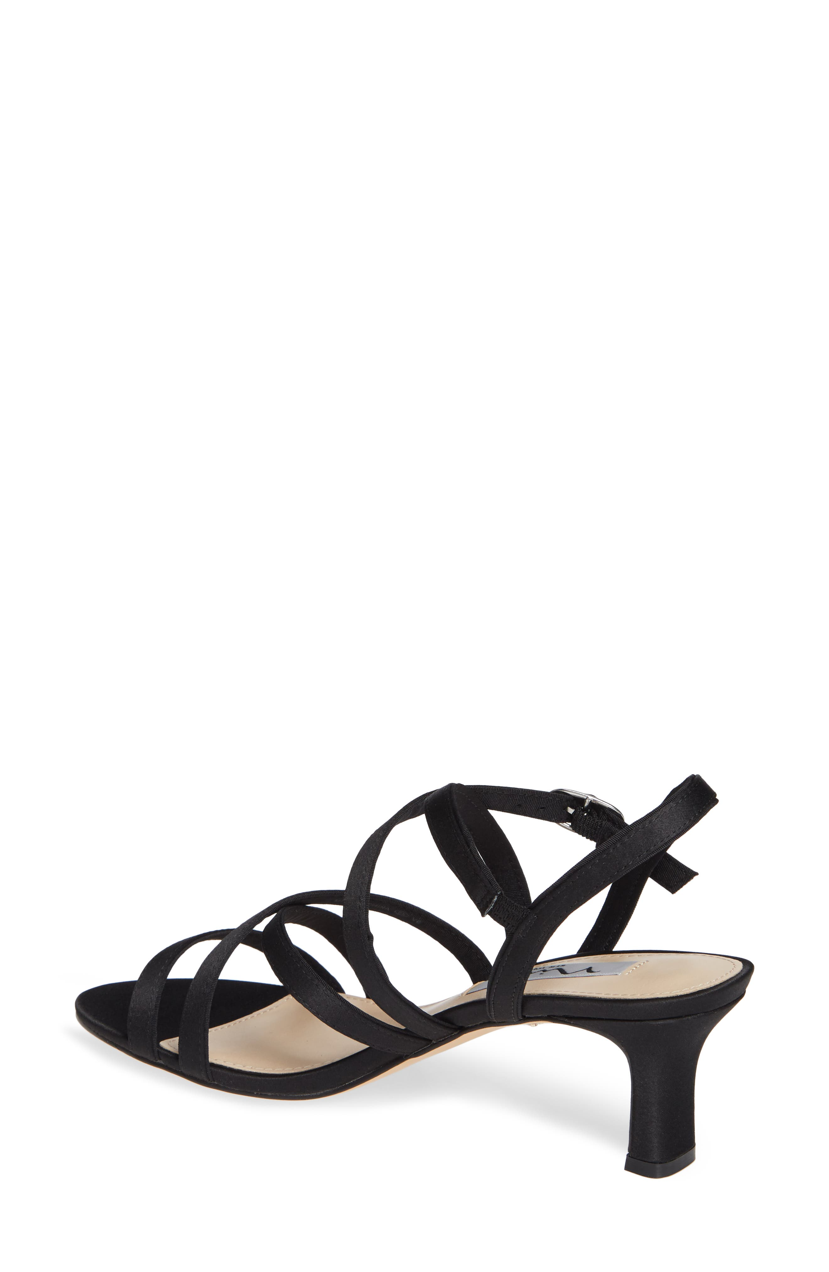 Genaya Strappy Evening Sandal,                             Alternate thumbnail 2, color,                             BLACK SATIN