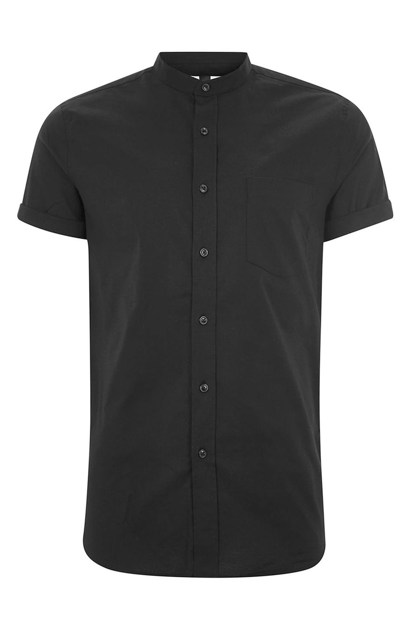 Stand Collar Oxford Shirt,                             Alternate thumbnail 4, color,                             001