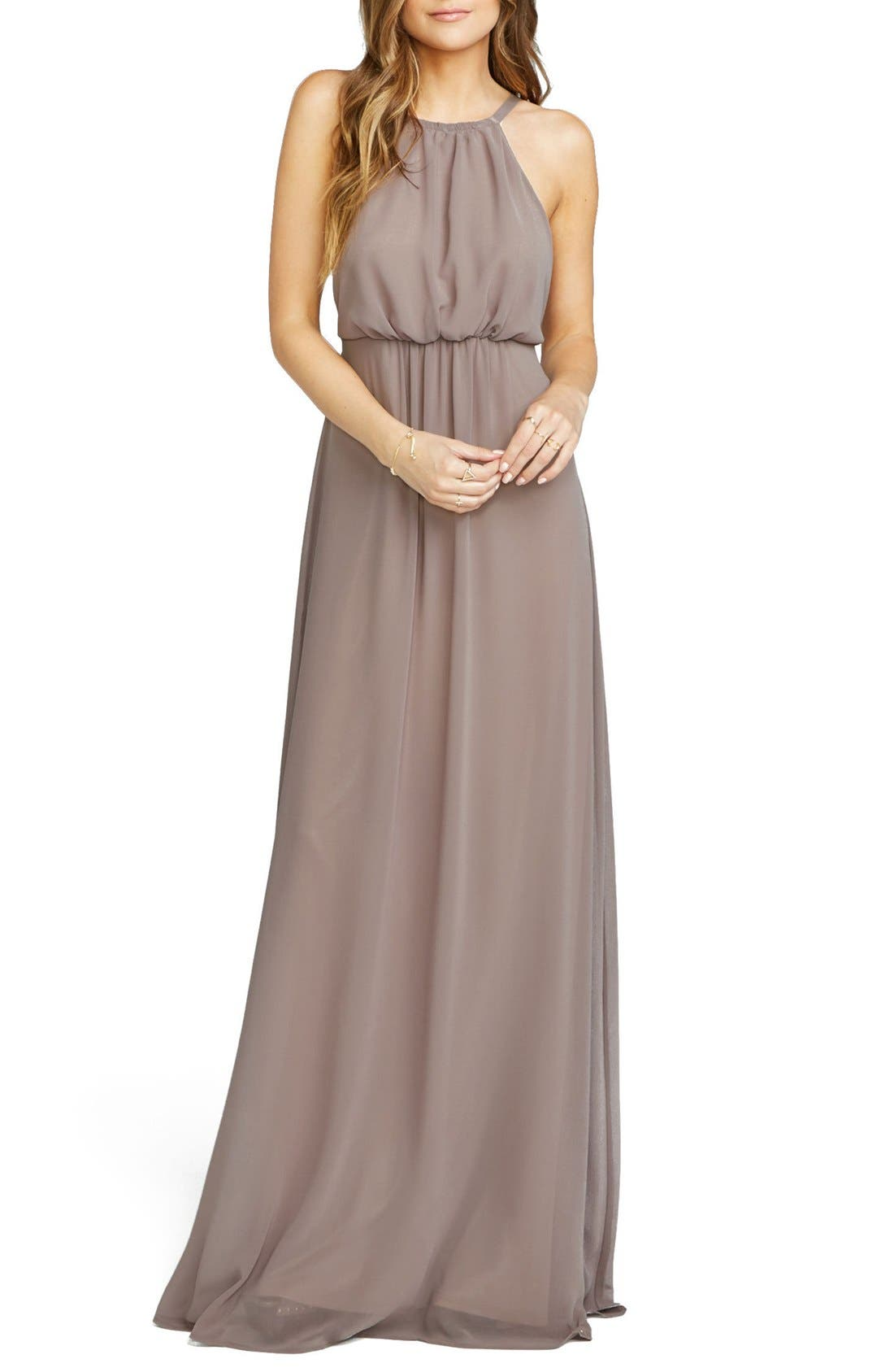 Amanda Open Back Blouson Gown,                             Main thumbnail 4, color,